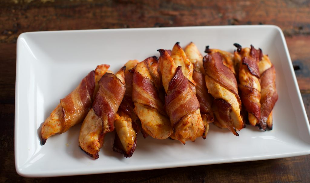 Bacon Wrapped Sriracha Chicken Tenders