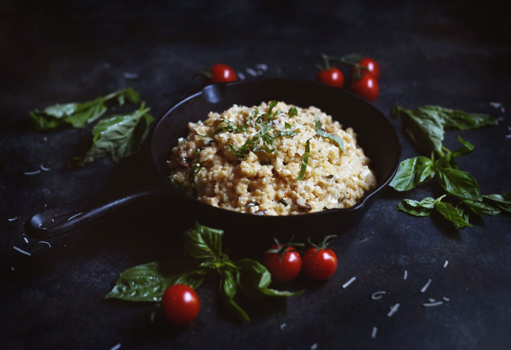 Low-Carb Cauliflower Risotto with Basil and Sun Dried Tomatoes