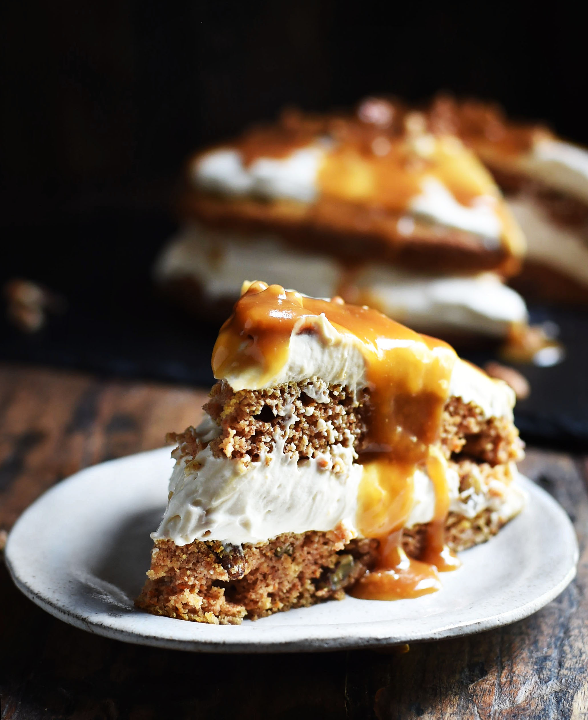 Low-Carb Carrot Cake with Maple Pecan Cheesecake Filling
