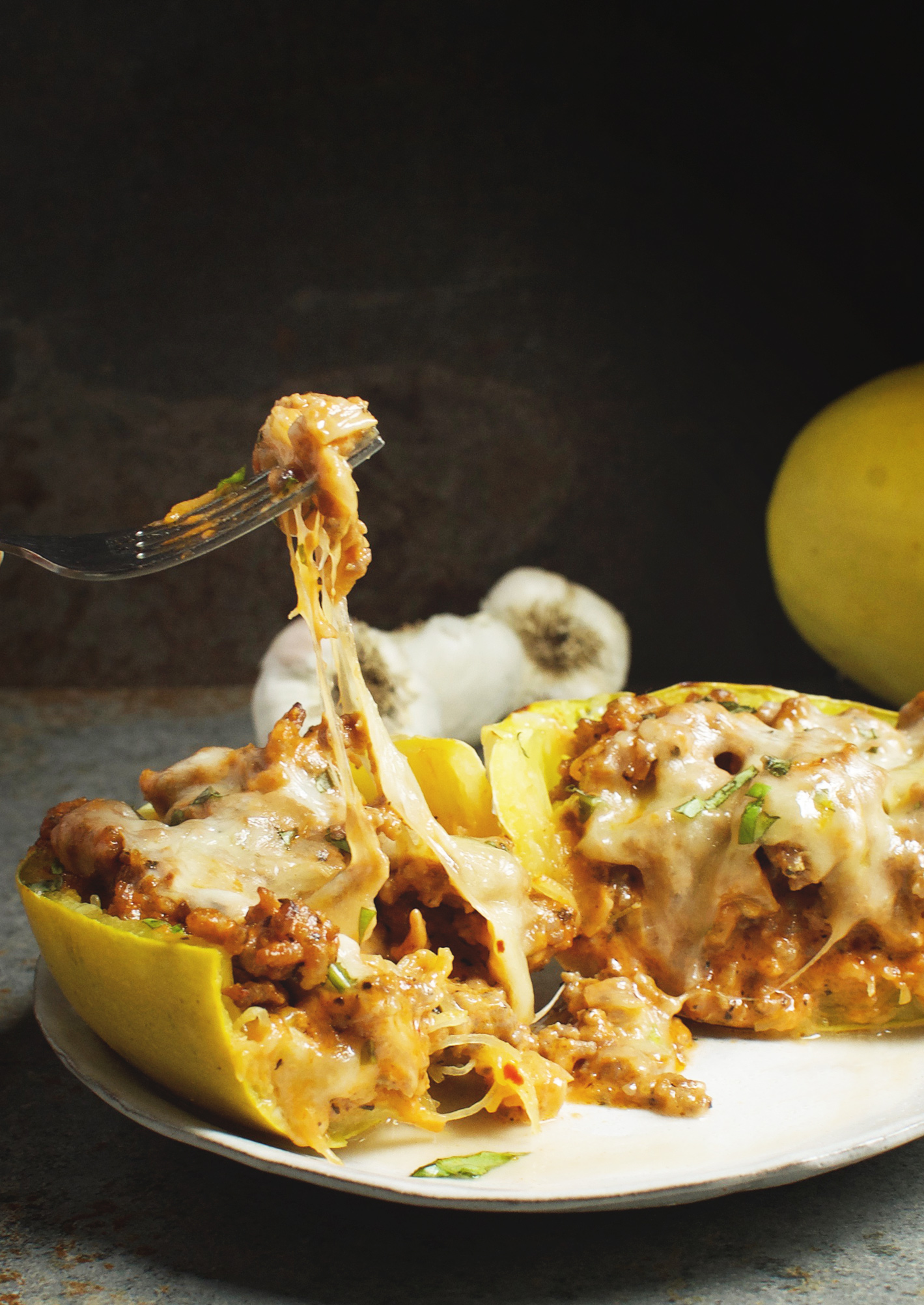 This recipe for Sausage Stuffed Spaghetti Squash takes low-carb eating to a new level! This delicious recipe works for low-carb, ketogenic, gluten-free, grain-free, diabetic, or Banting diets.