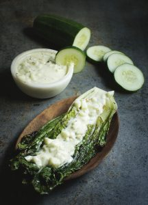 Grilled Romaine with Cucumber Dill Dressing
