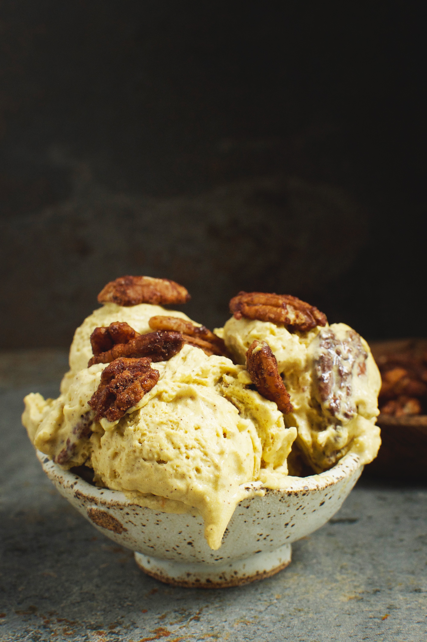 This Low-Carb Candied Pecan Pumpkin Ice-Cream recipe makes a delicious dessert. This recipe can be part of a low-carb, ketogenic, Atkins, gluten-free, grain-free, diabetic, and Banting diets.