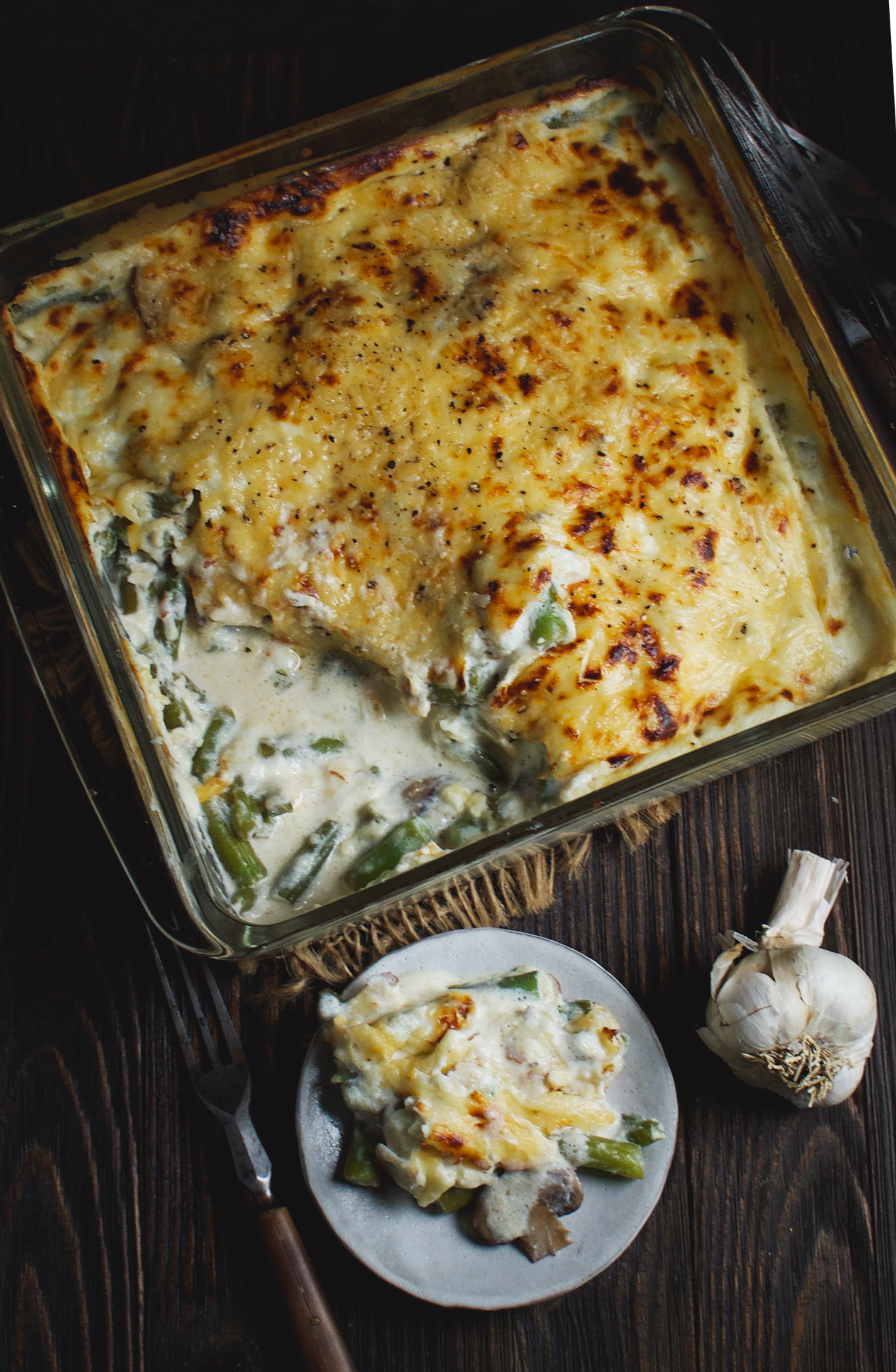 Low-Carb Green Bean and Mushroom Casserole on a plate. Overhead view
