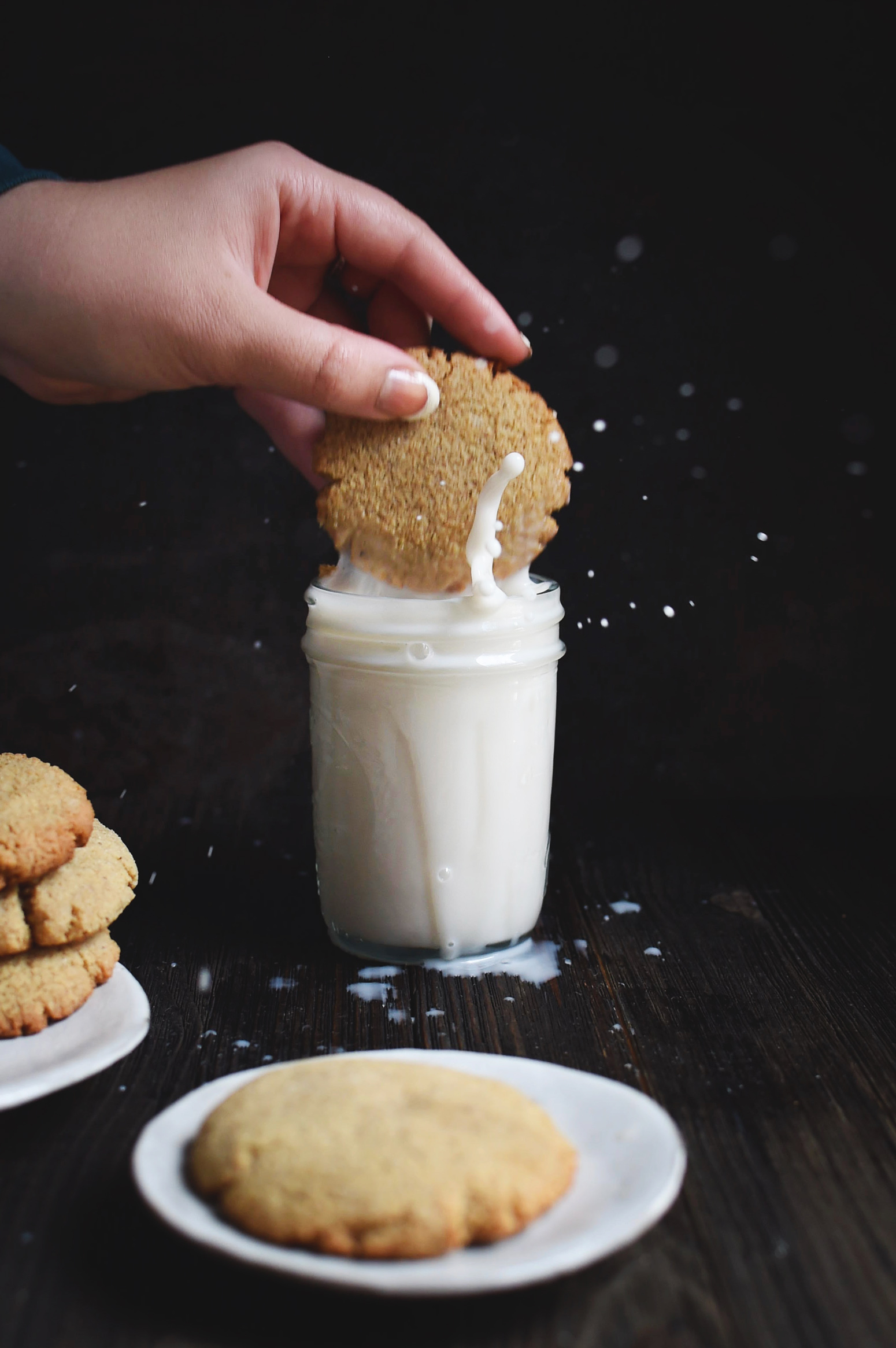 Low-Carb Molasses Gingerbread Cookie being dipped in milk.