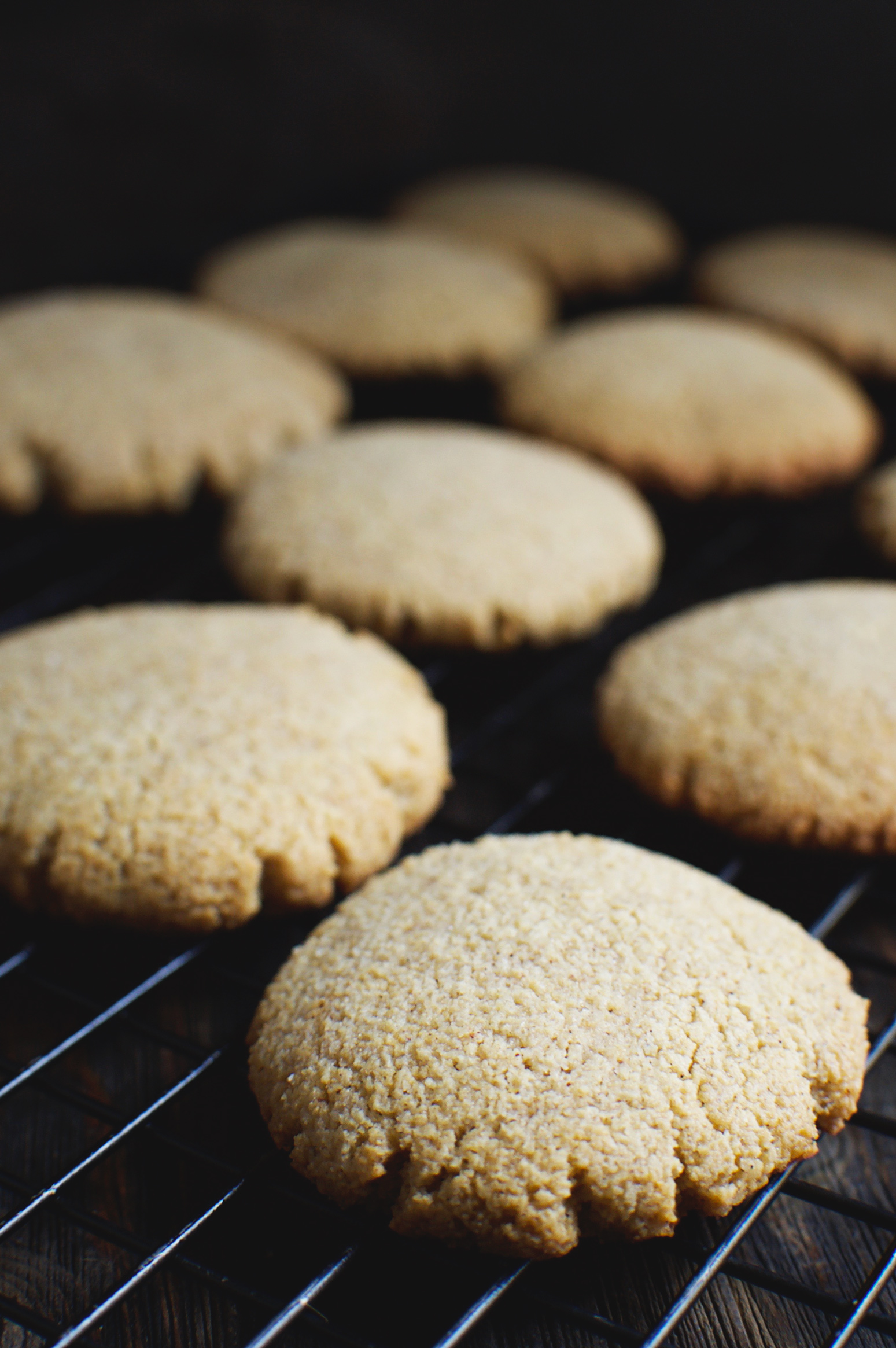 Low-Carb Molasses Gingerbread Cookies on a cooling rack