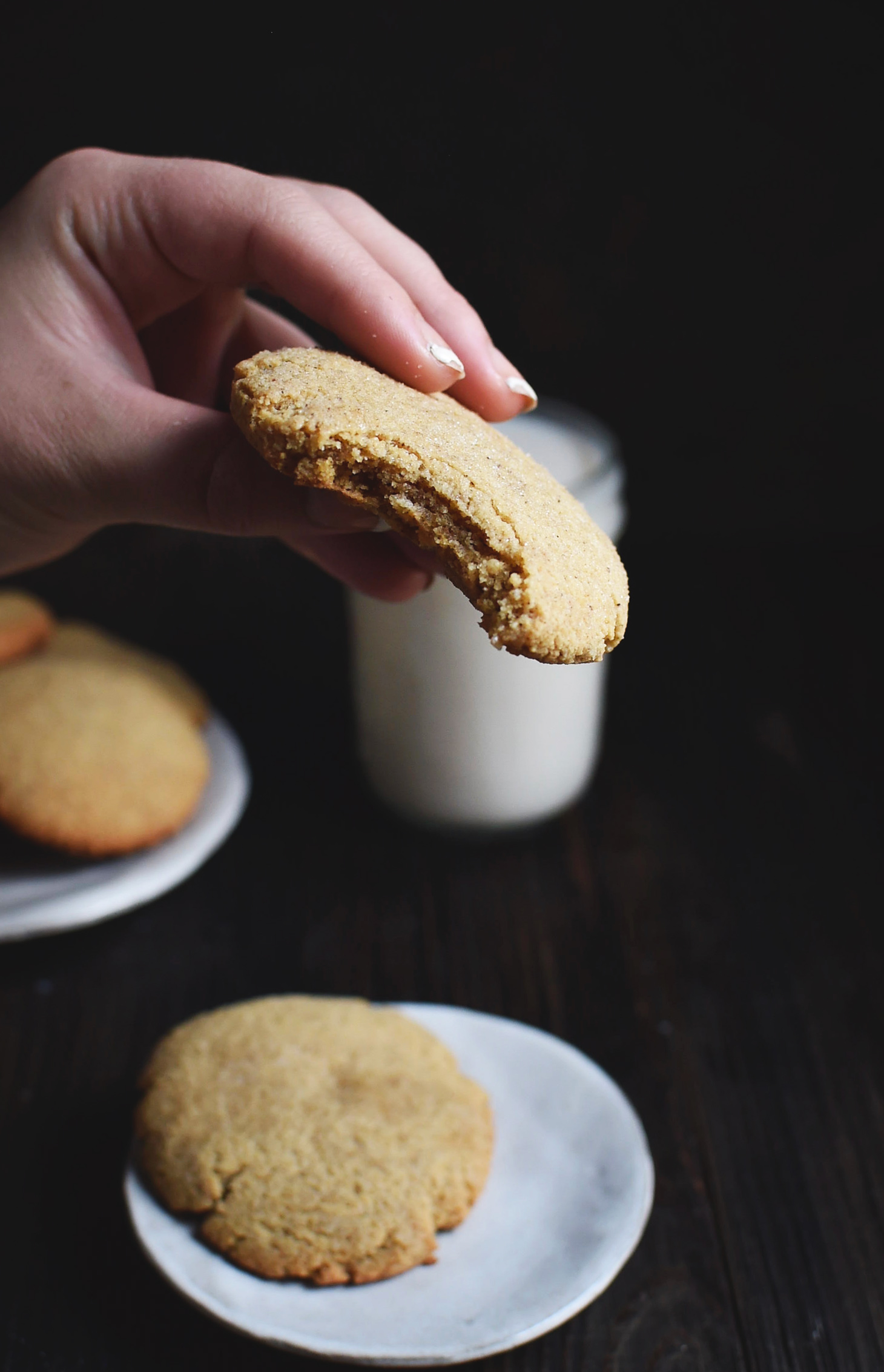 Low-Carb Molasses Gingerbread Cookie with a bite taken.