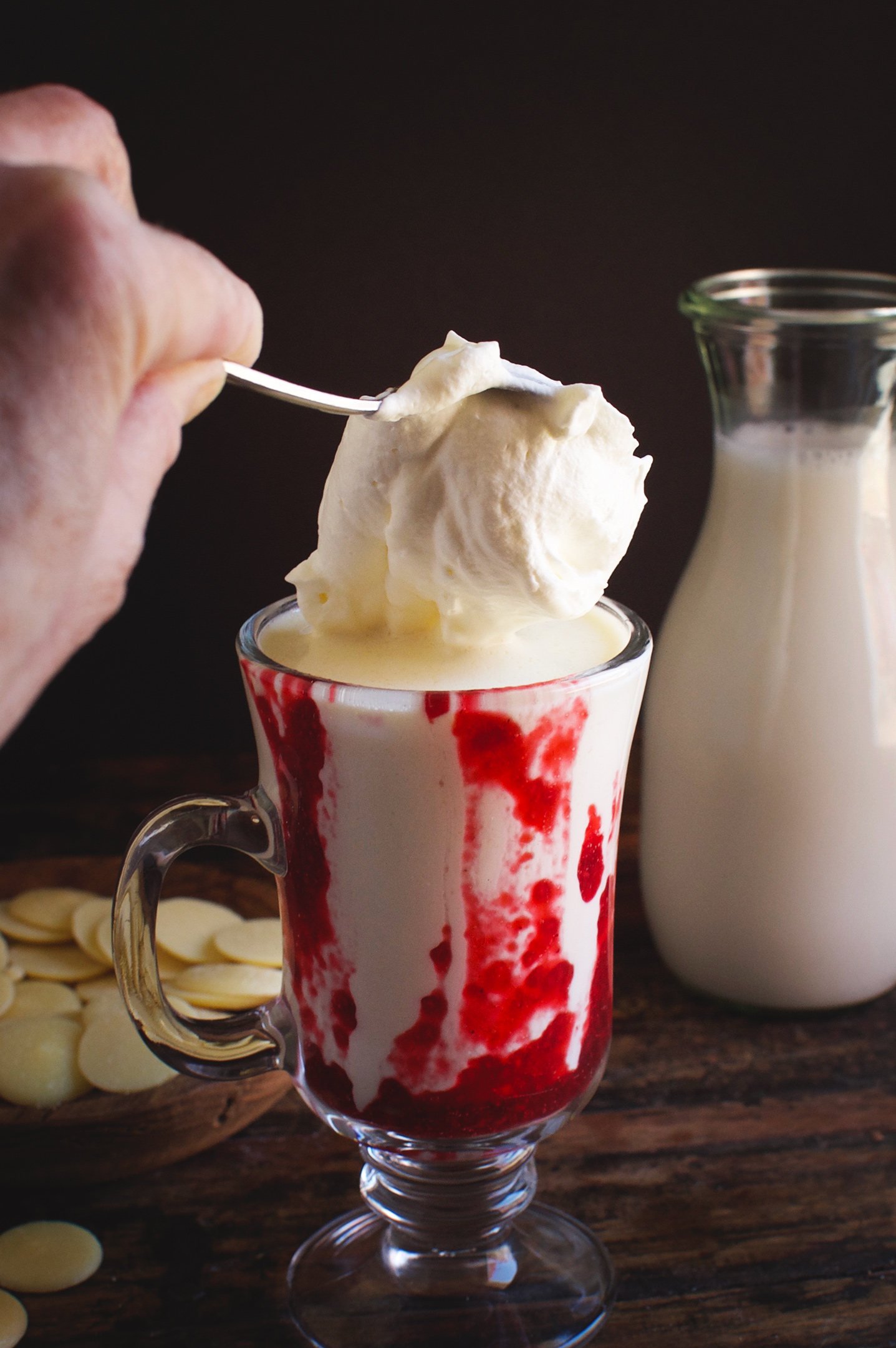 Low-Carb Raspberry White Hot Chocolate--Adding a dollop of whipped cream