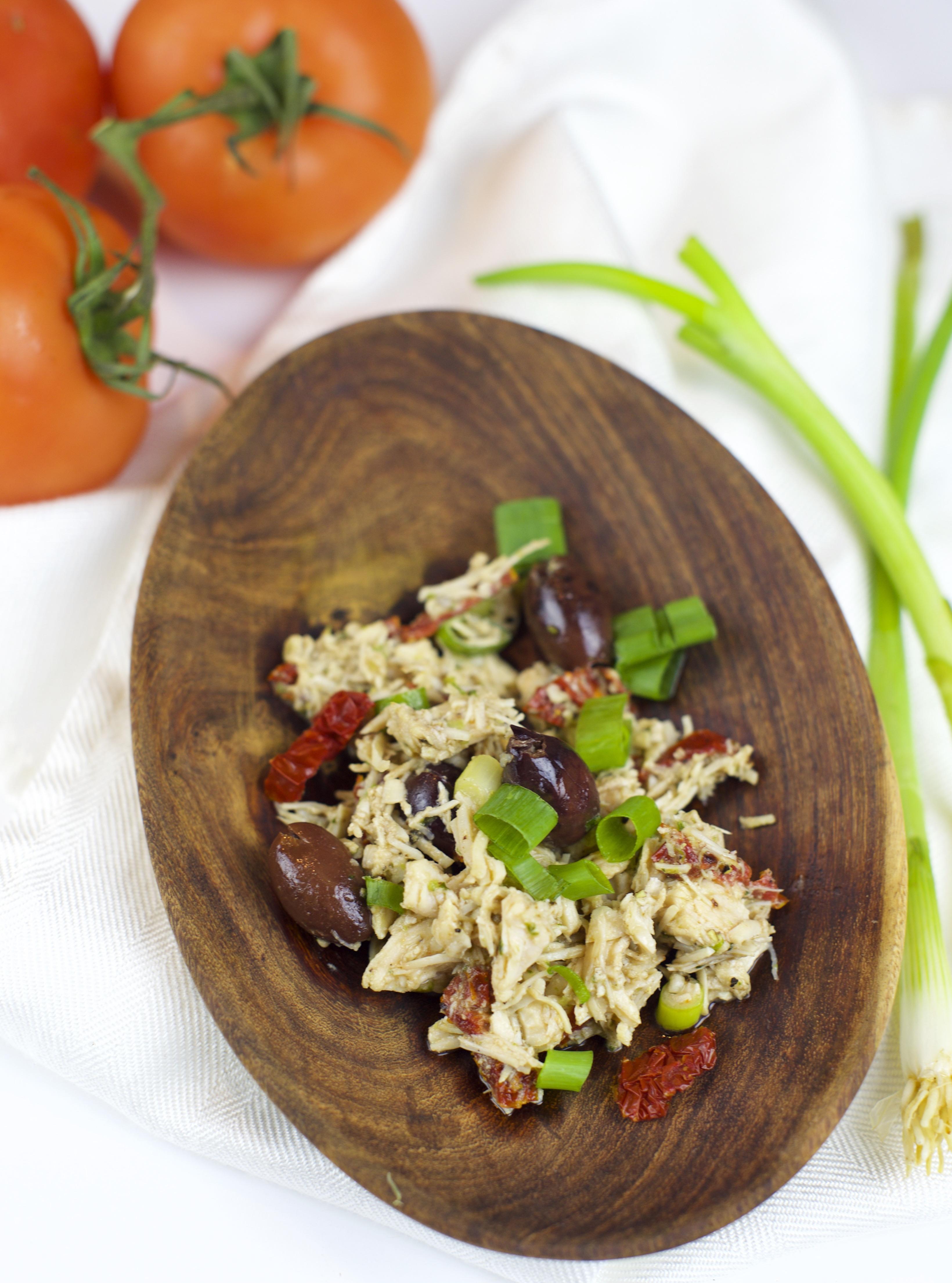 Overhead shot of Paleo Mediterranean Chicken Salad on a bowl.