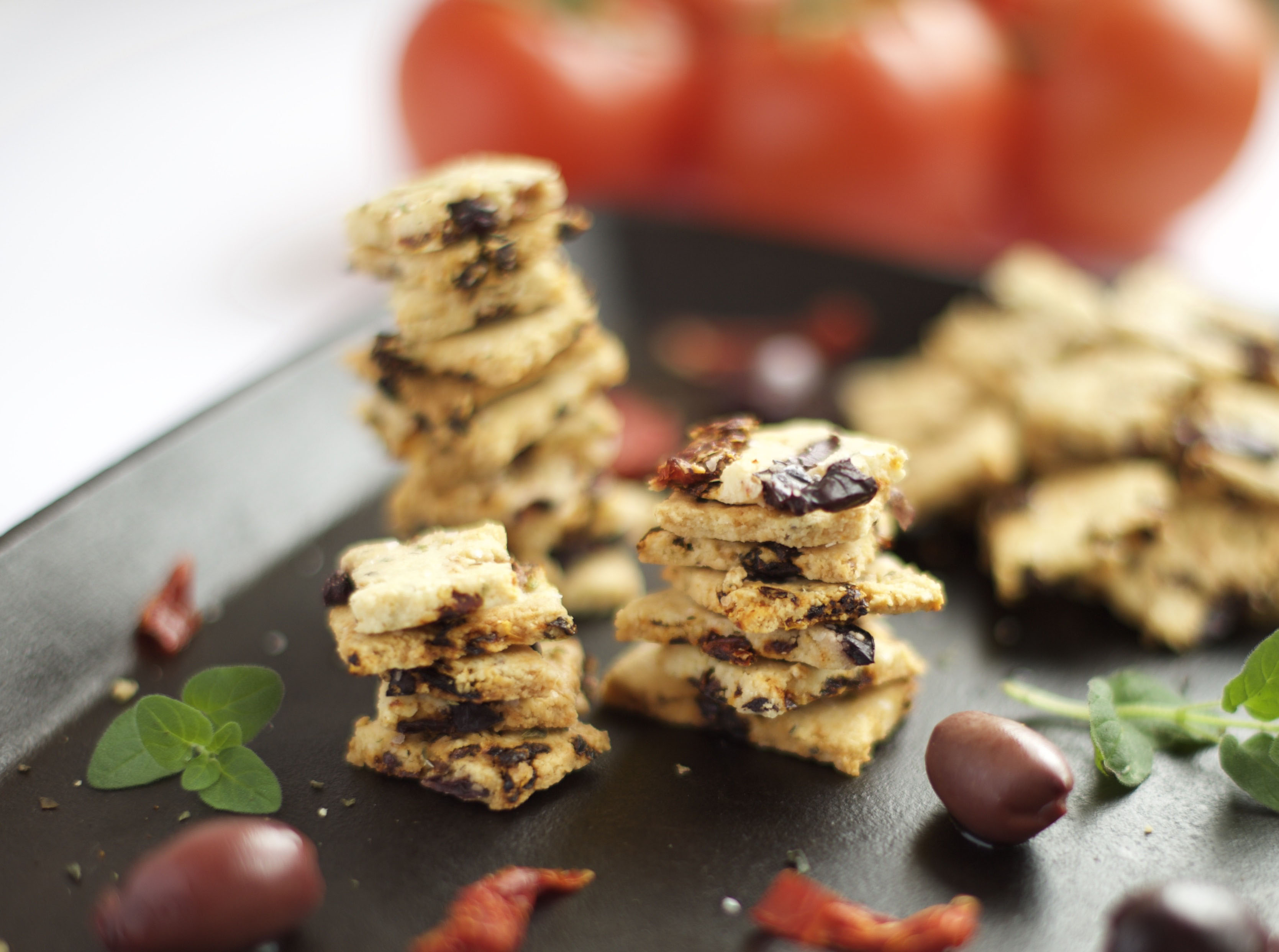 Grain Free Sun-Dried Tomato and Olive Crackers