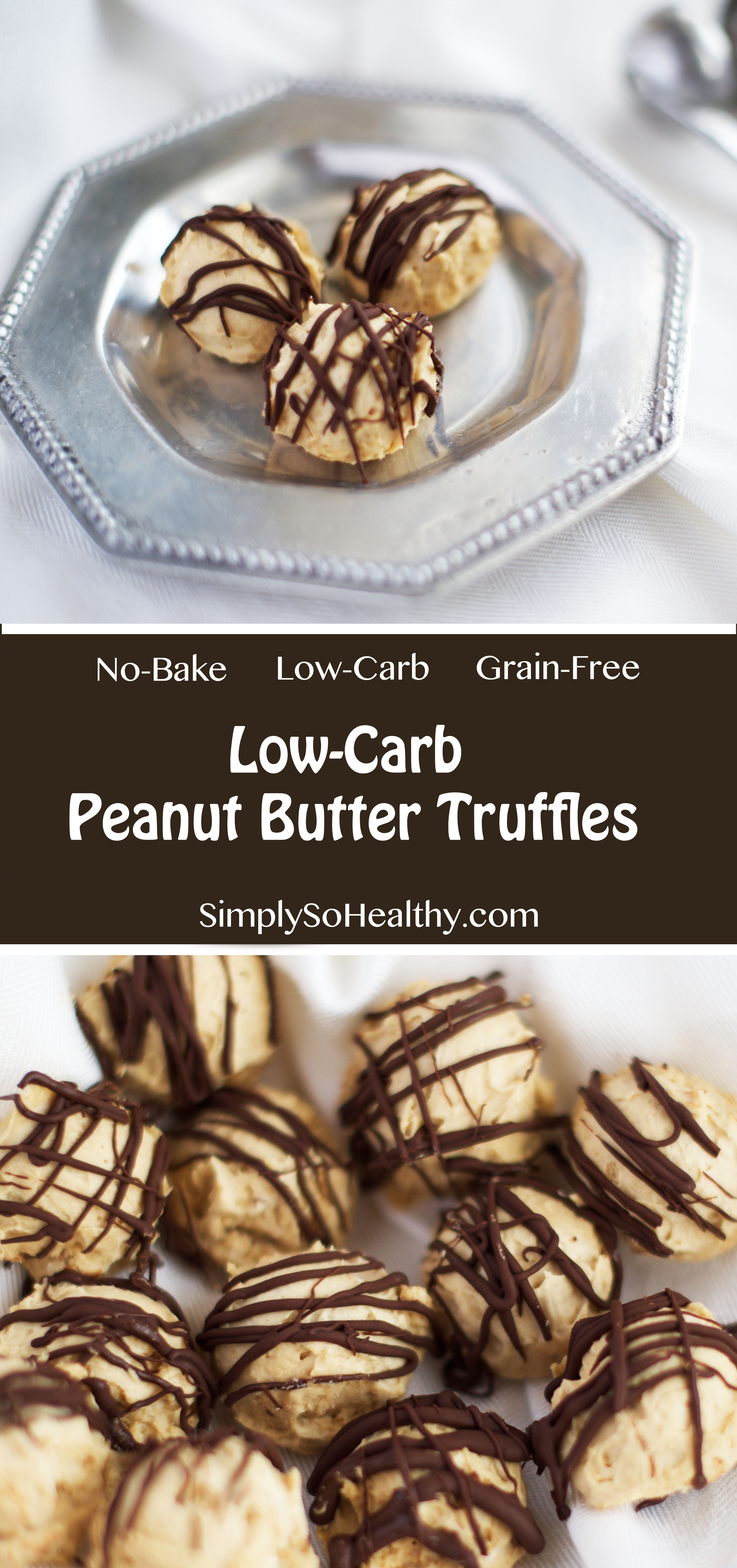 Photo of Low-Carb Peanut Butter Truffles blog cover photo with title text.