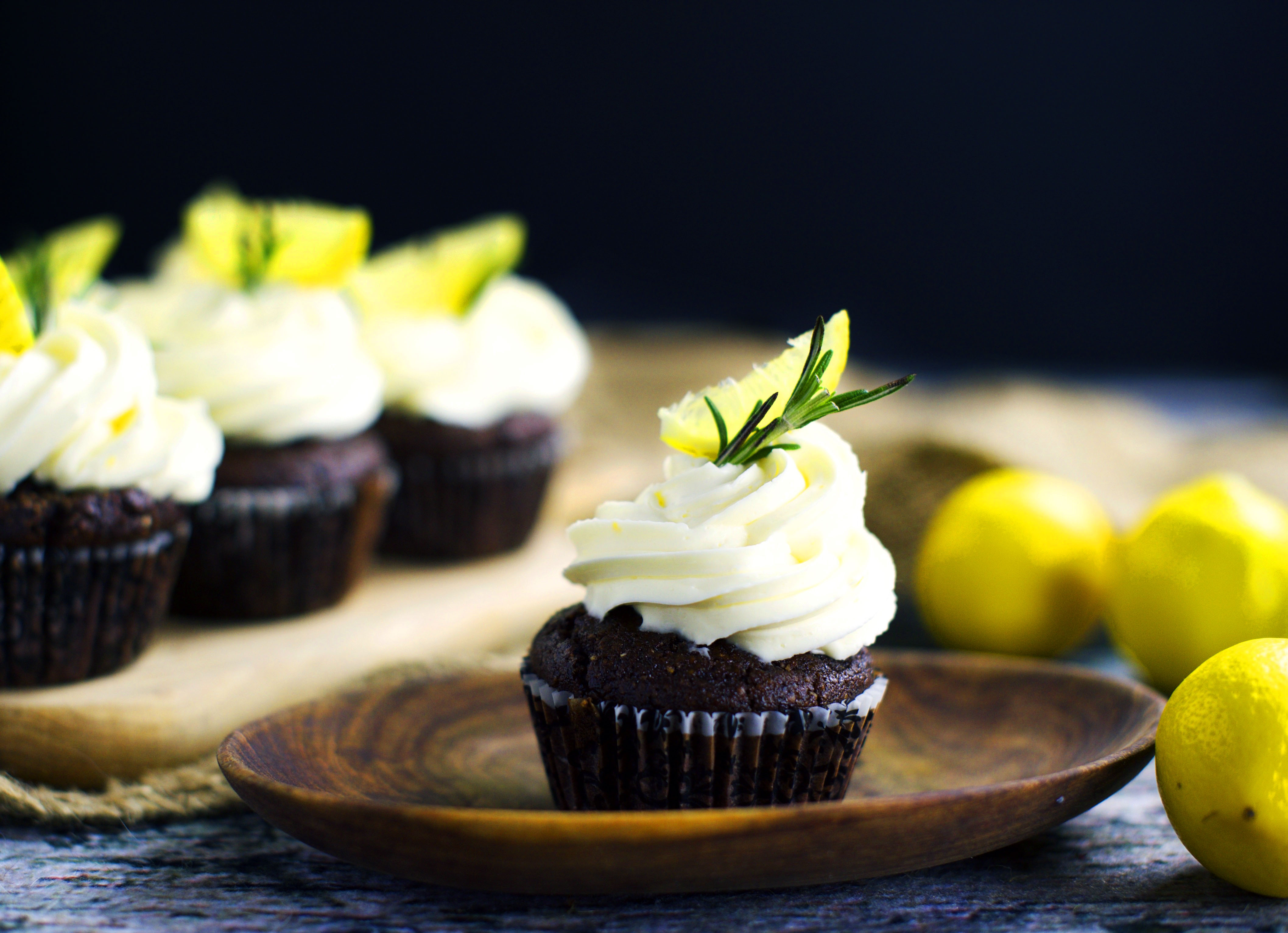 Low-Carb Chocolate Rosemary Cupcakes with Lemon Frosting