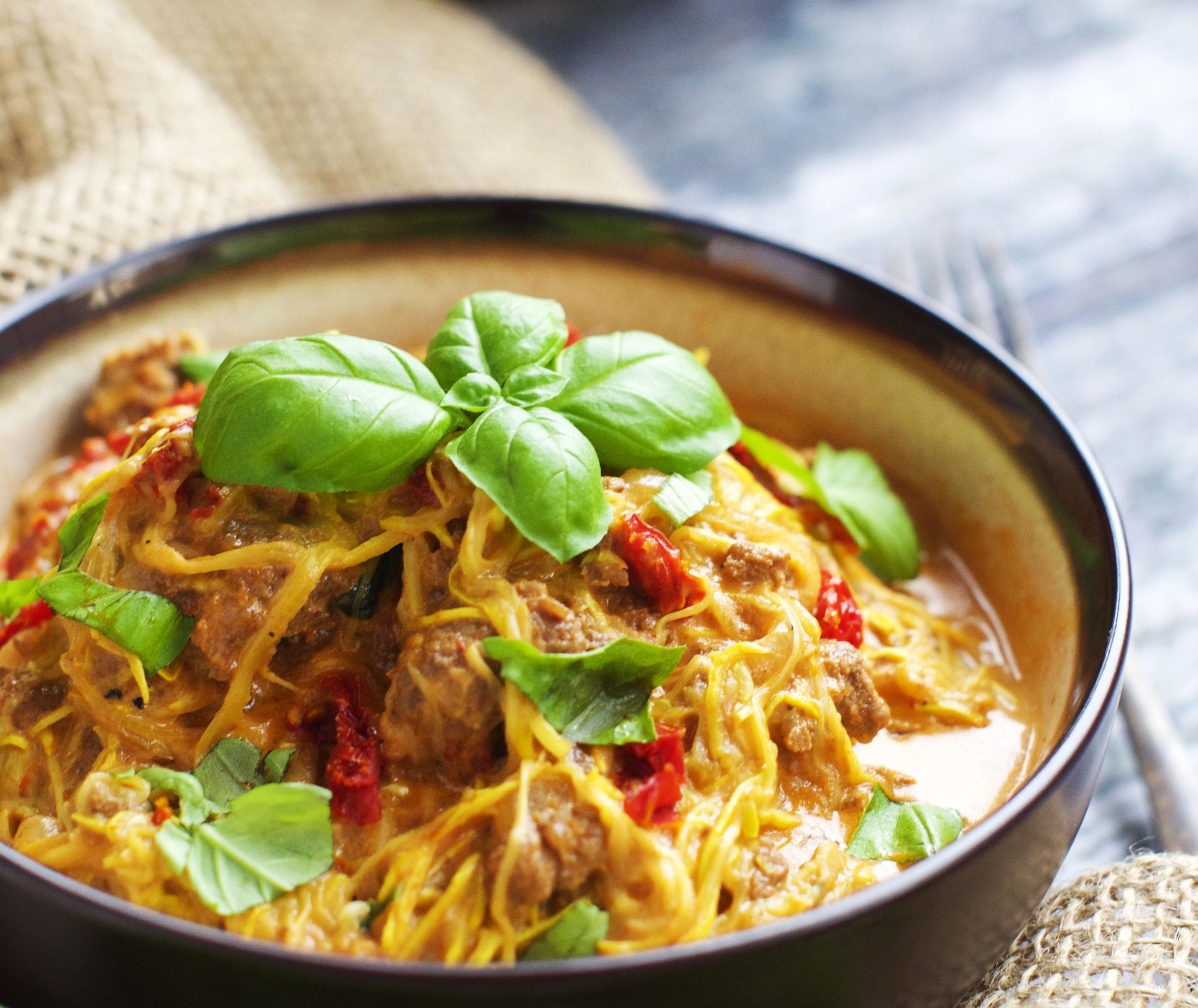 "Grain-Free ""Spaghetti"" with Tomato Basil Cream Sauce"