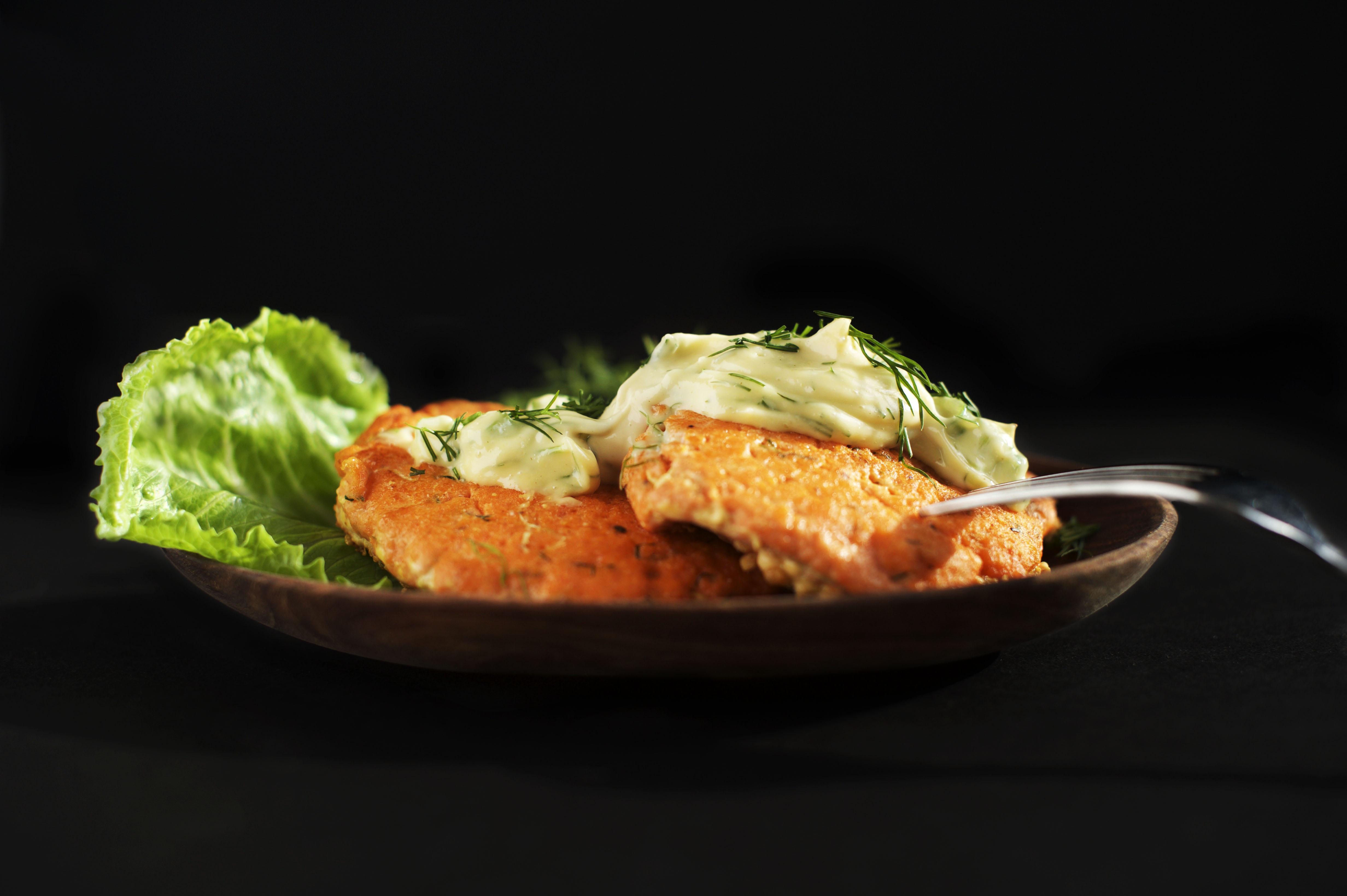 Salmon burgers with mustard dill sauce