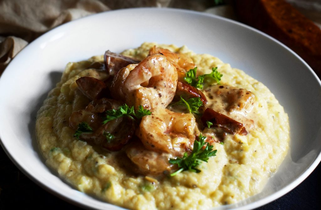 "Low-Carb Shrimp and ""Grits""."