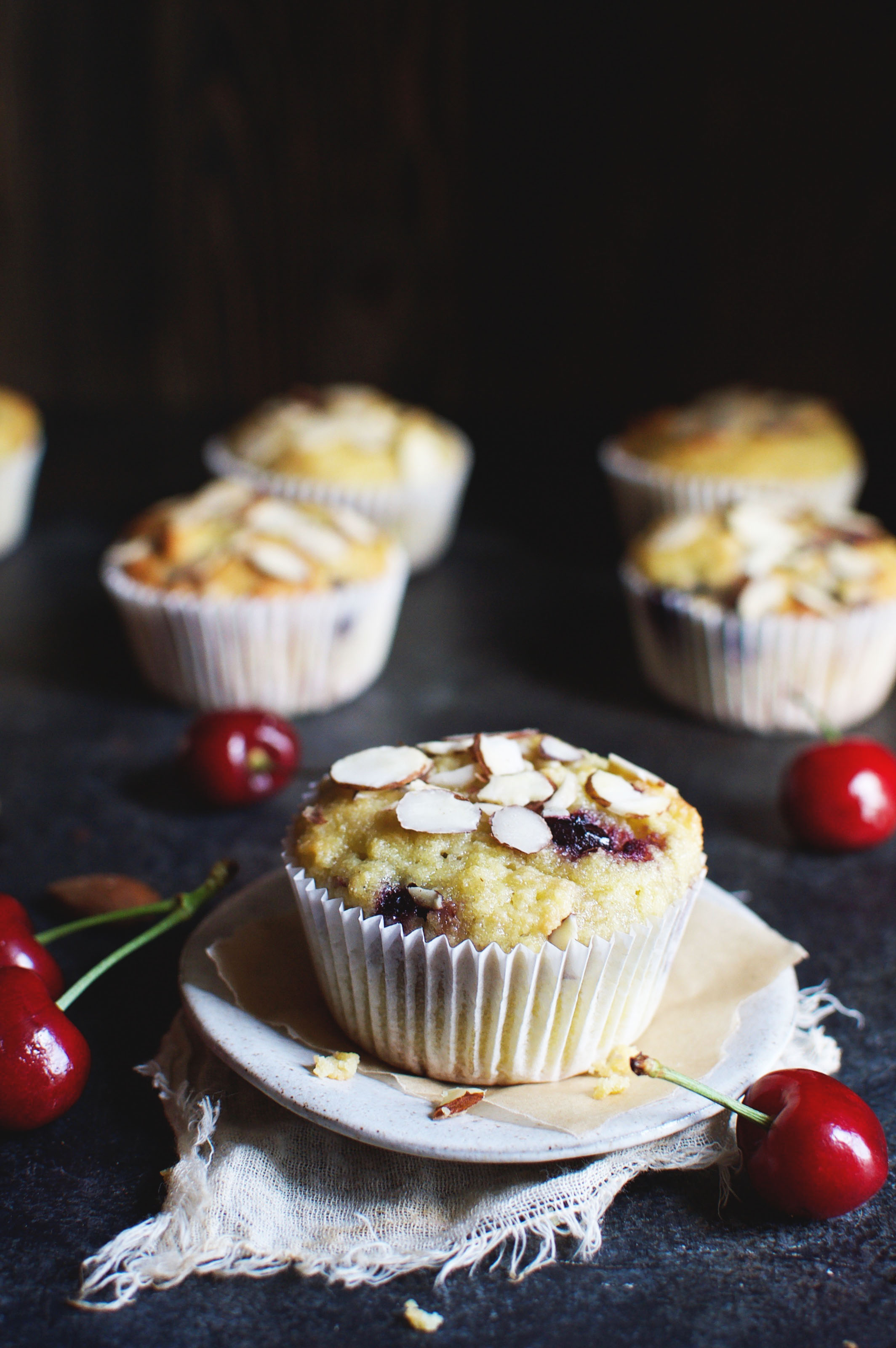 Low-Carb Almond Cherry Muffins