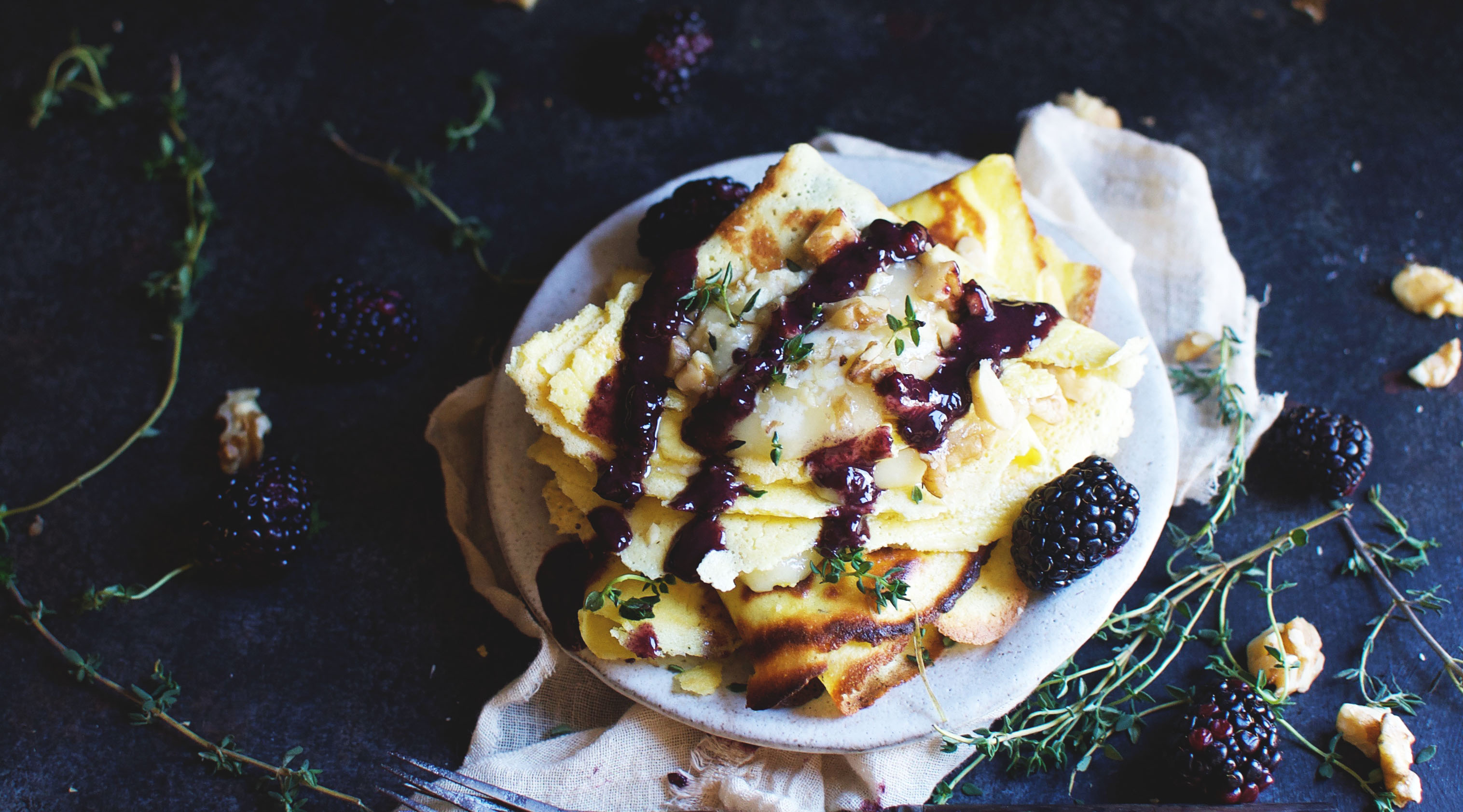 Low-Carb Crepes with Brie and Savory Blackberry Sauce