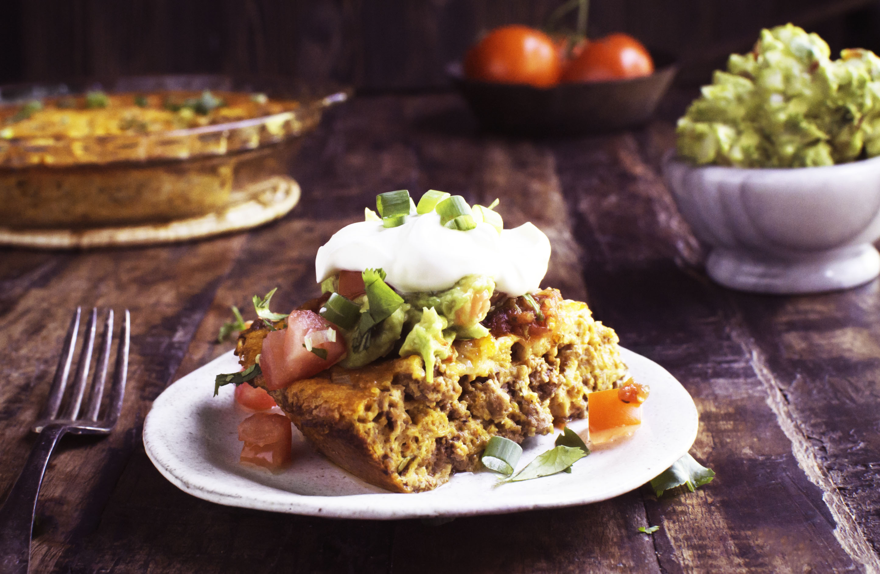 Delicious Low-Carb Crustless Taco Pie Recipe - Simply So Healthy