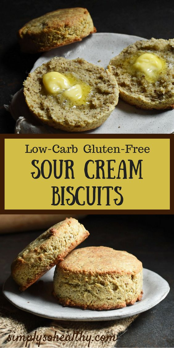 Cover photo of Low-Carb Sour Cream Biscuits with text