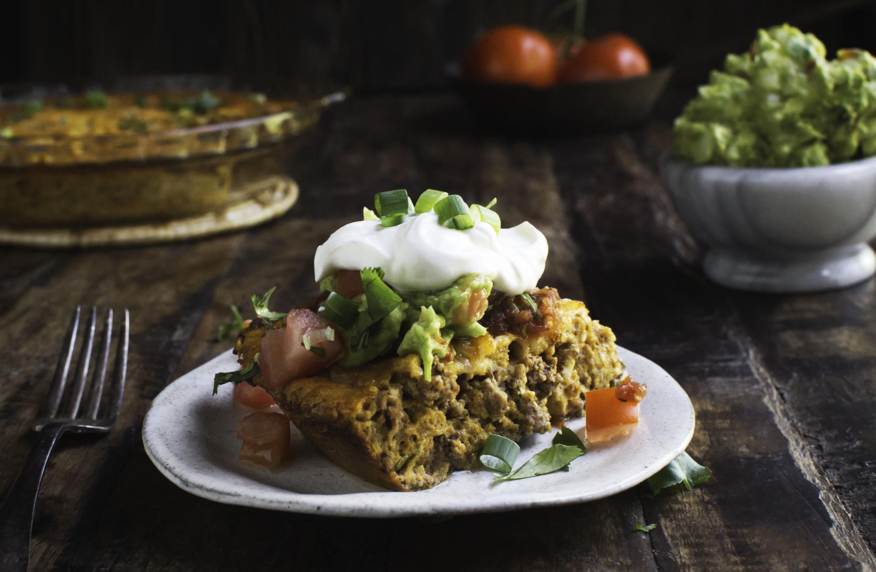 4f5e892450e41 Delicious Low-Carb Crustless Taco Pie Recipe - Simply So Healthy