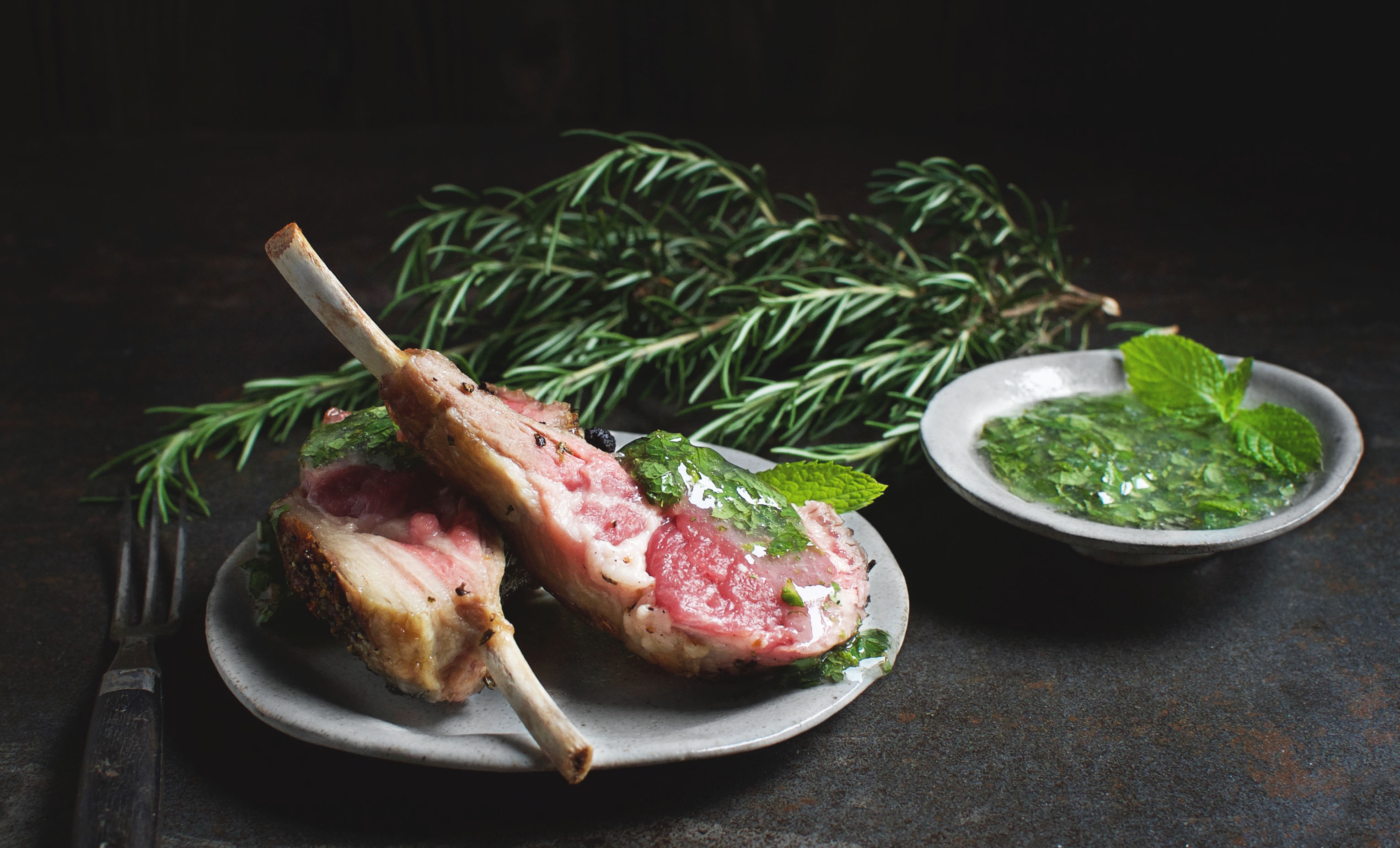 Garlic Rosemary Rack of Lamb with Low-Carb Mint Glaze