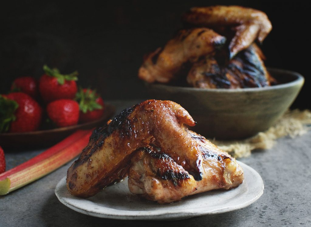 Strawberry Rhubarb Barbecued Chicken Wings