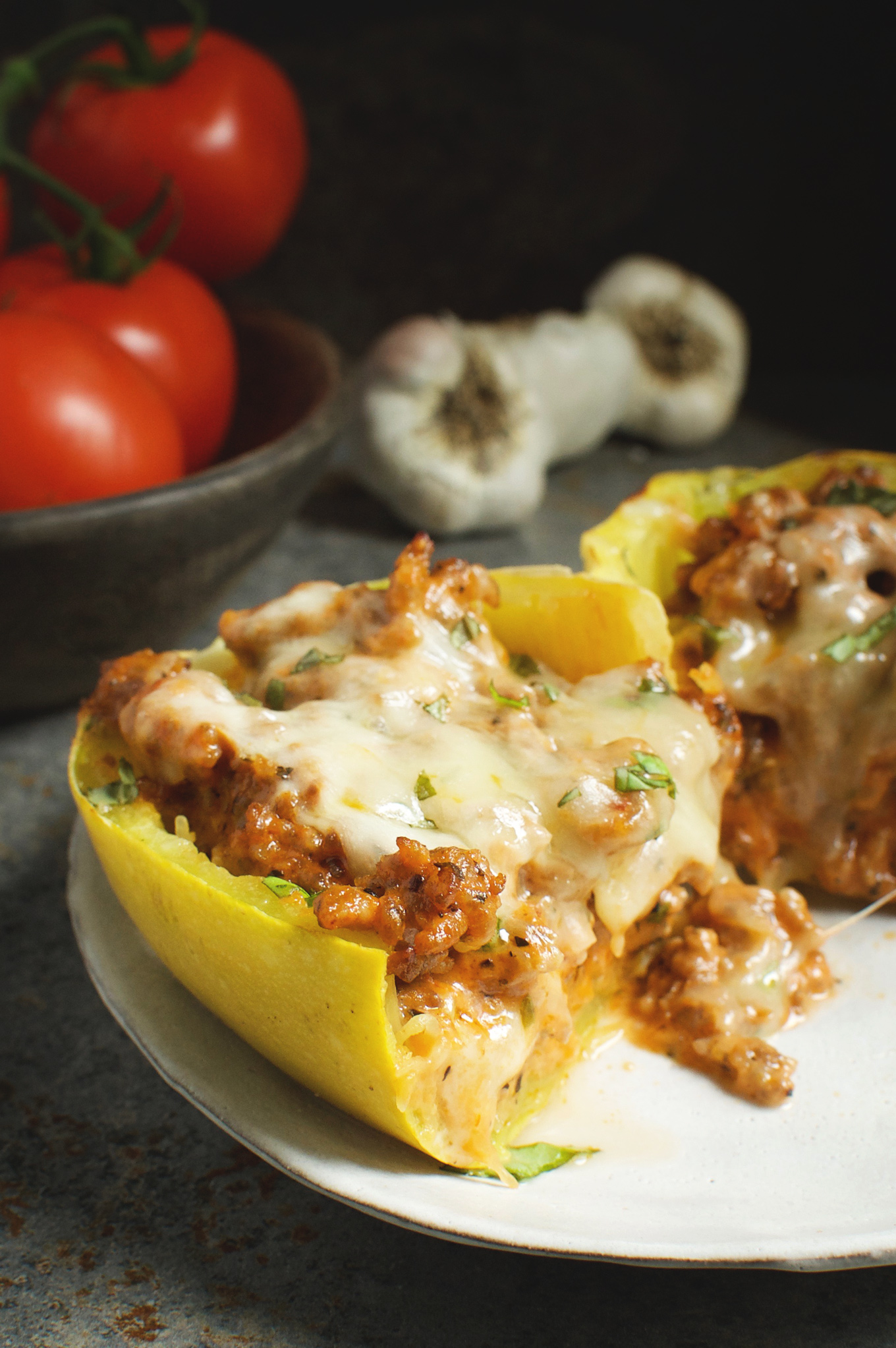 squash spaghetti stuffed sausage recipe meal low carb baked eat healthy eating separate everyone talking delicious simplysohealthy