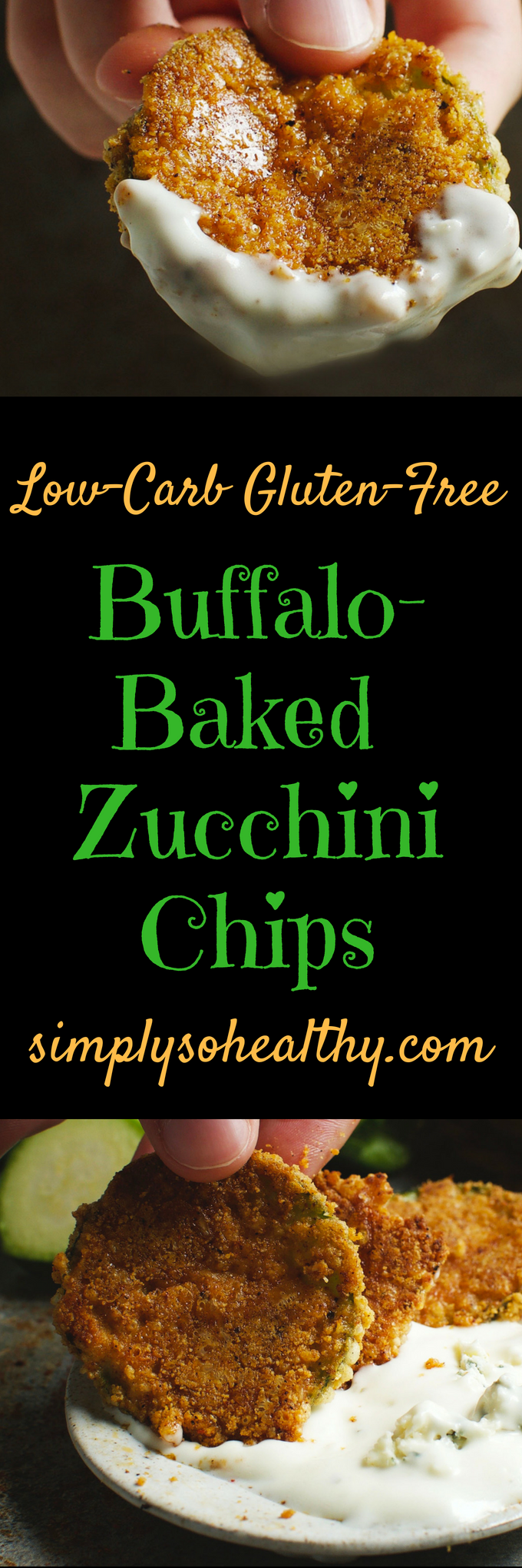 Low-Carb Buffalo Baked Zucchini Chips - Simply So Healthy