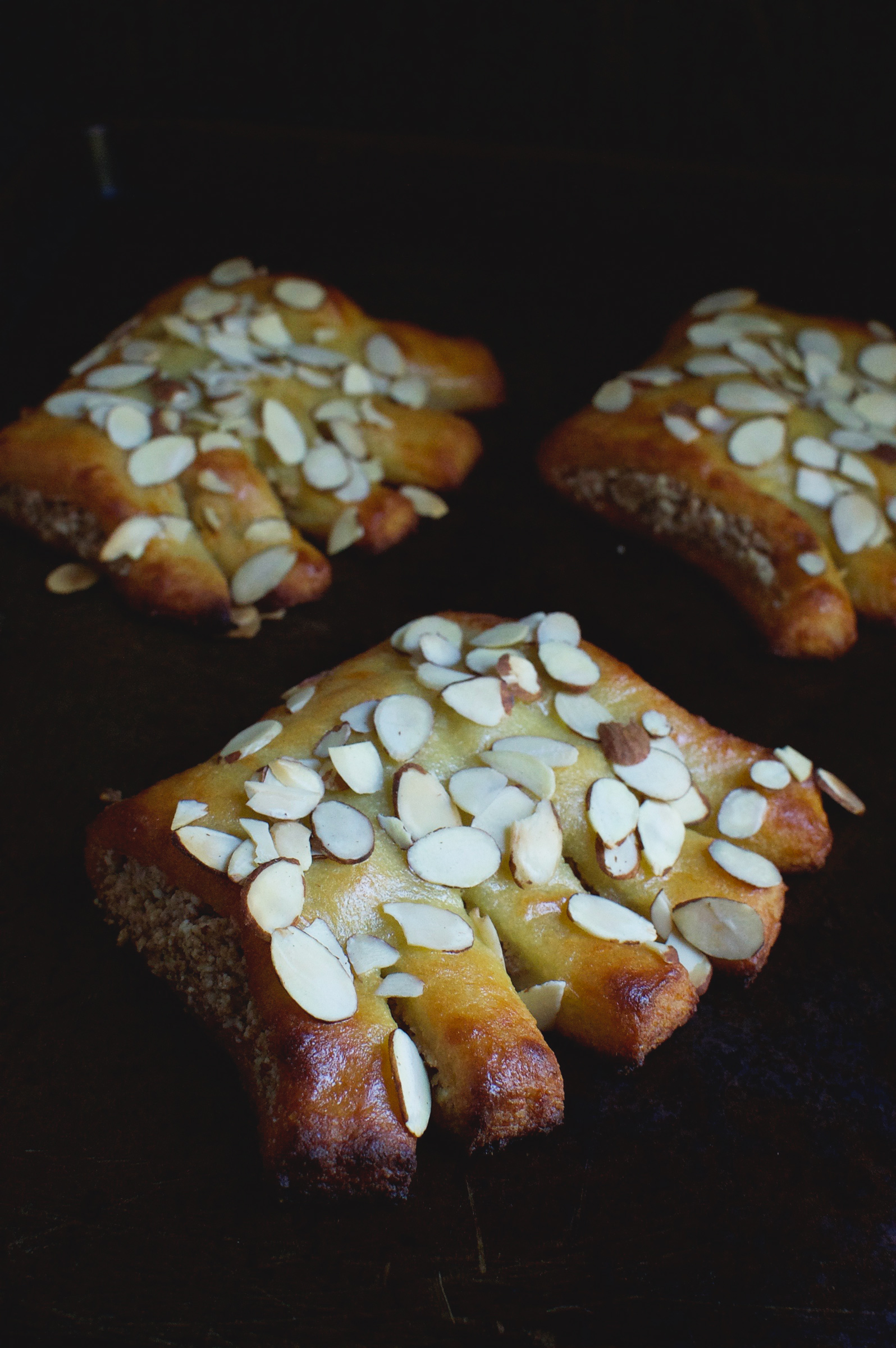 Low-Carb Bear Claws on a sheet