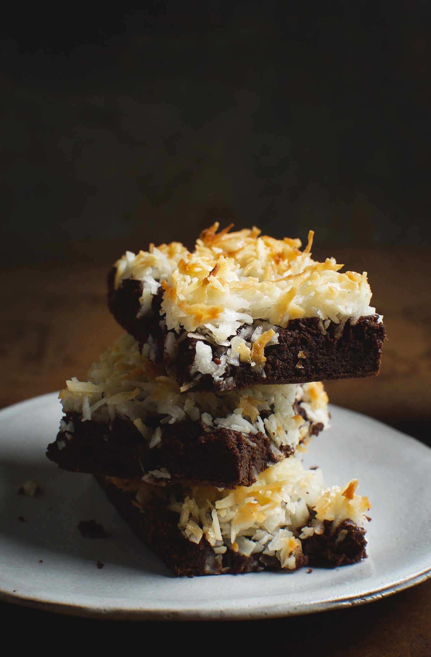 Keto Coconut Crusted Flourless Chocolate Brownies on a plate