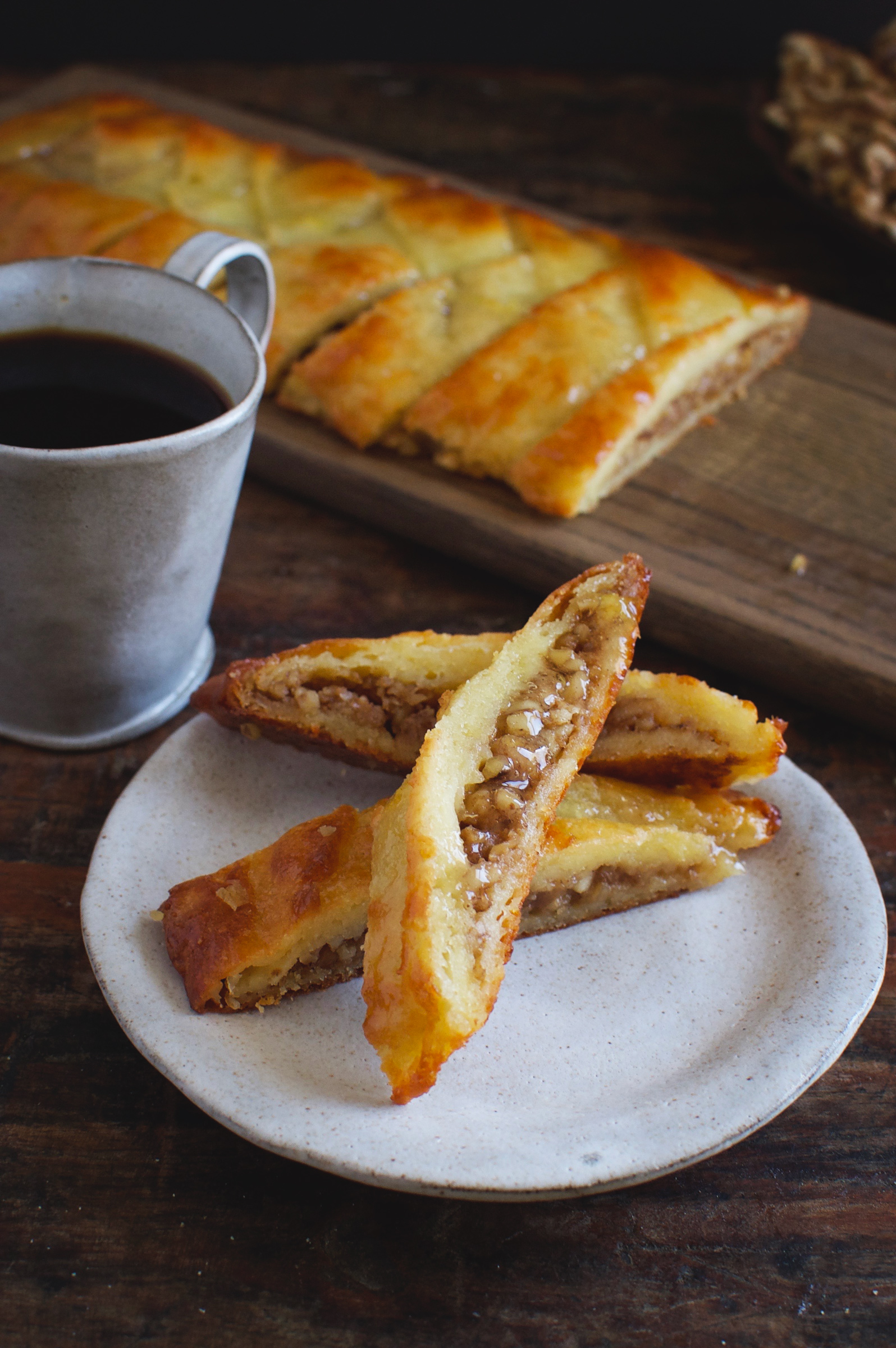 Low-Carb Baklava Braid-Slices on a plate.