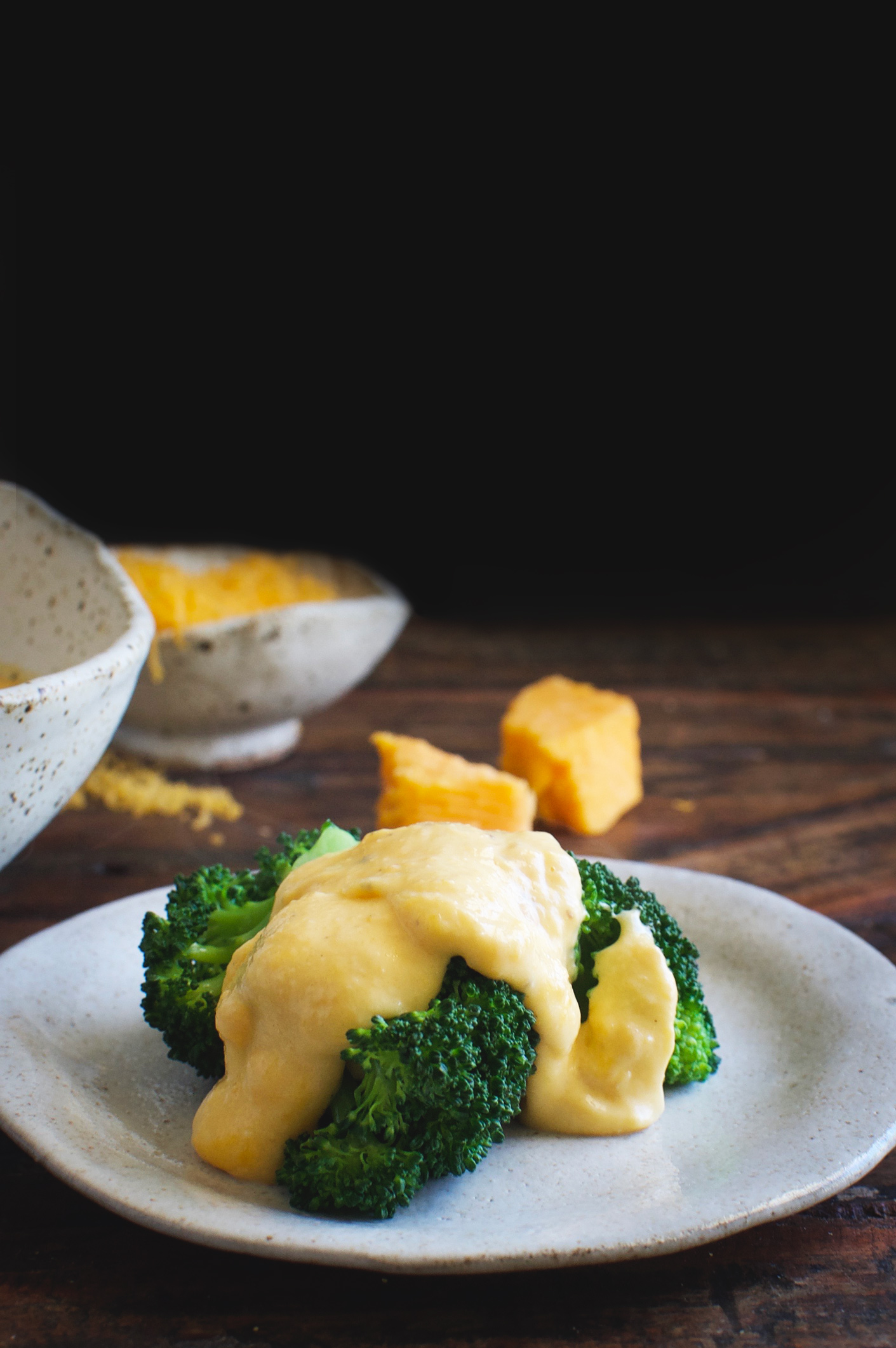 Low-Carb Cheddar Cheese Sauce over broccoli.