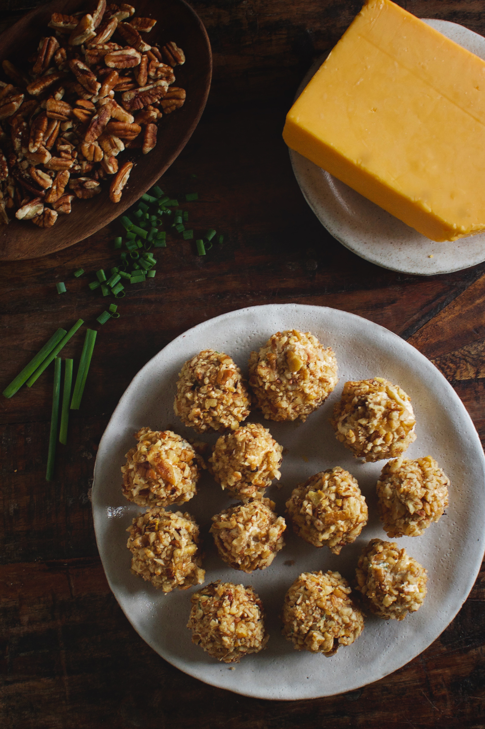Low-Carb Mini Bacon Chive Cheeseballs on a plate-overhead shot