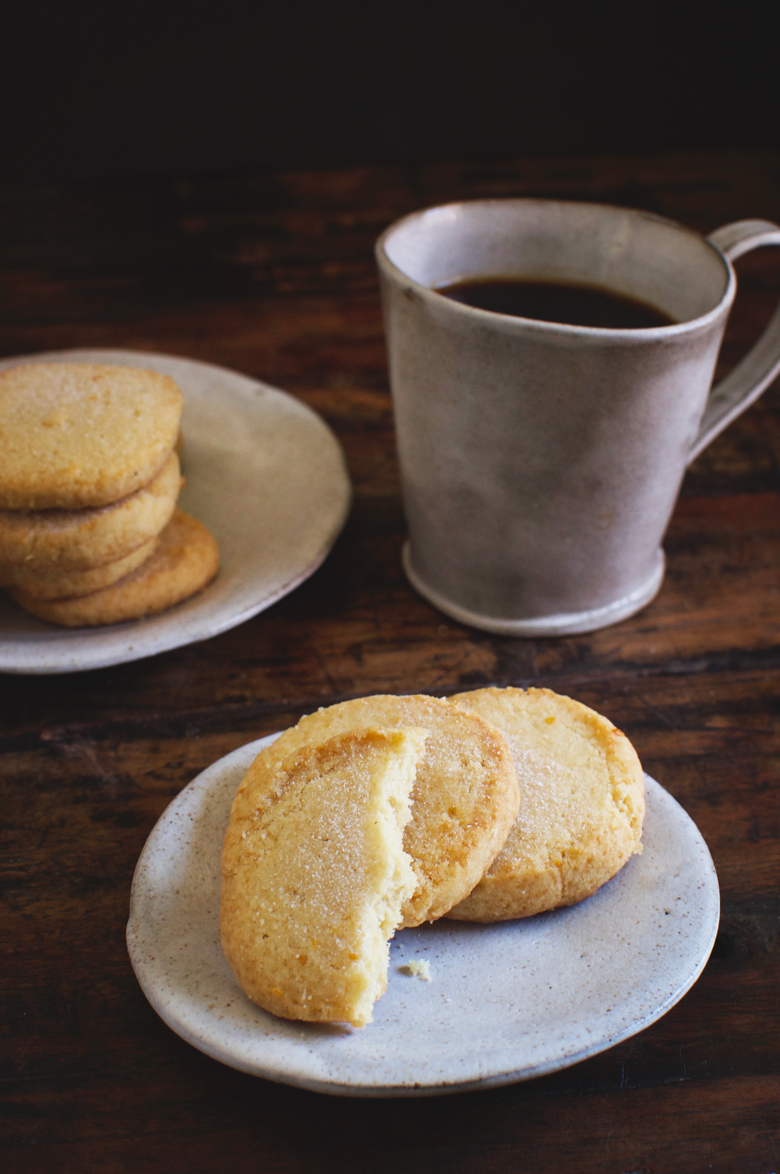 Low-Carb Sugar Cookies-Cookie on plate with bite taken out.