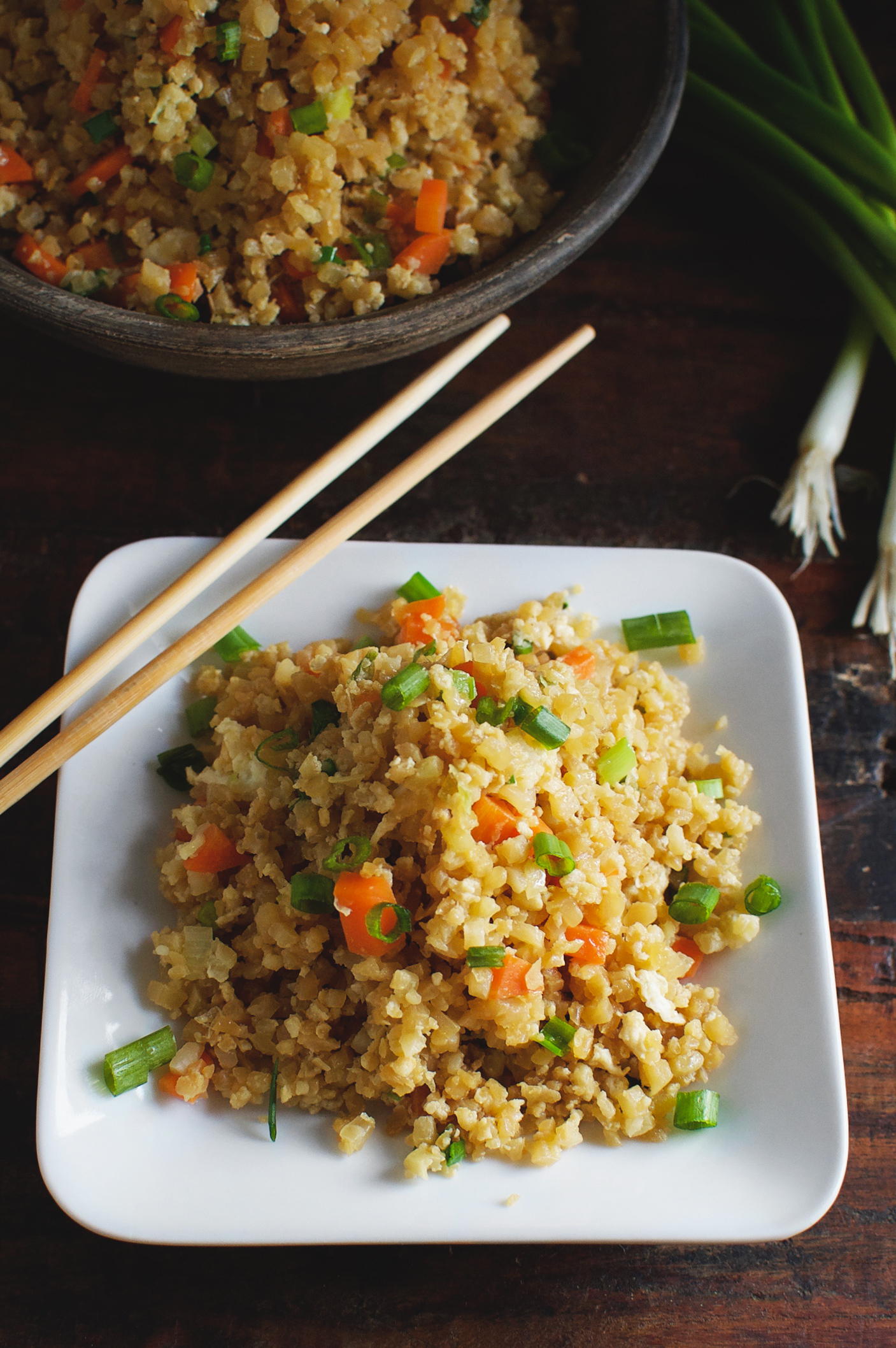 Easy Low-Carb Cauliflower Fried Rice Recipe served on a plate. Overhead shot.