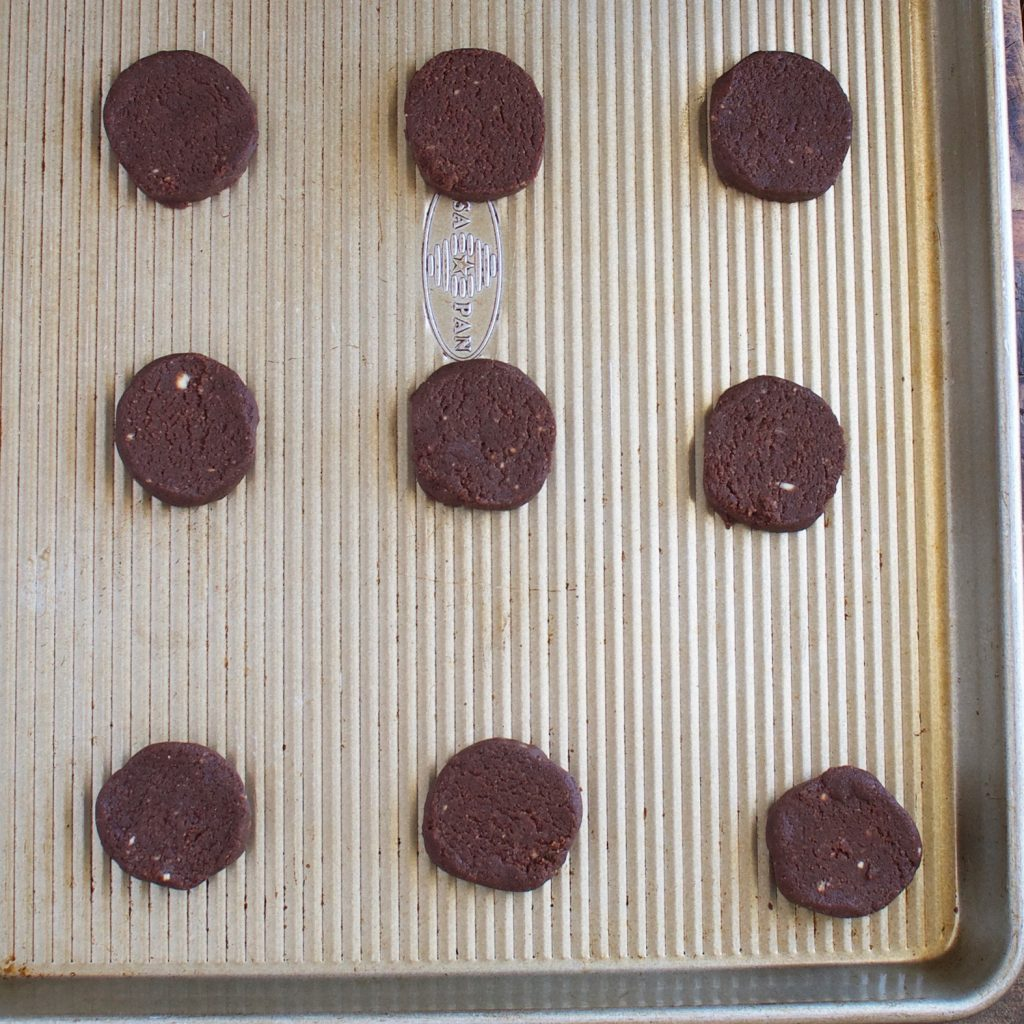 Low-Carb Thin Mint Cookies ready for the oven.
