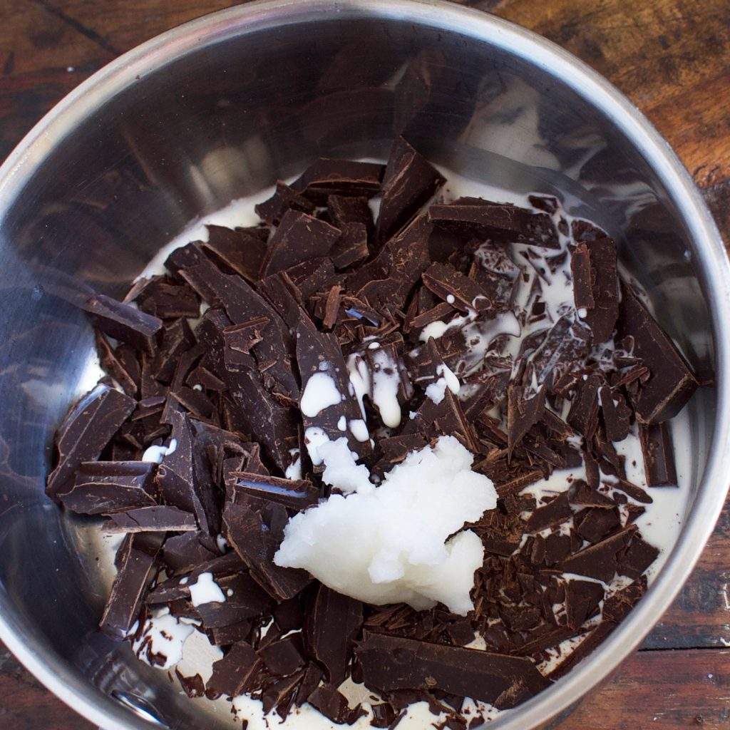Low-Carb Thin Mint Cookies-ingredients for chocolate coating in a saucepan.