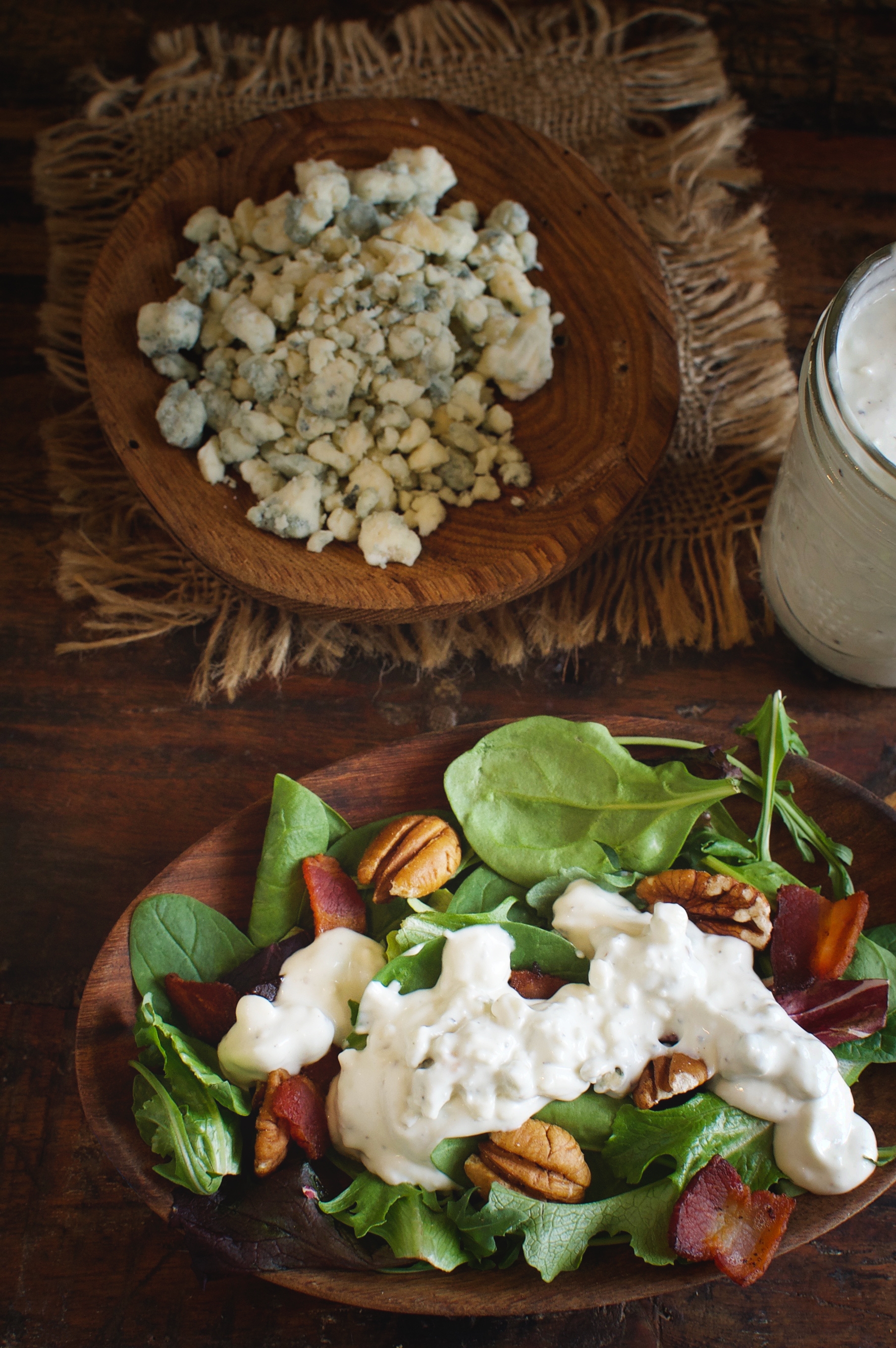 Low-Carb Blue Cheese Dressing (Dip) on a salad.