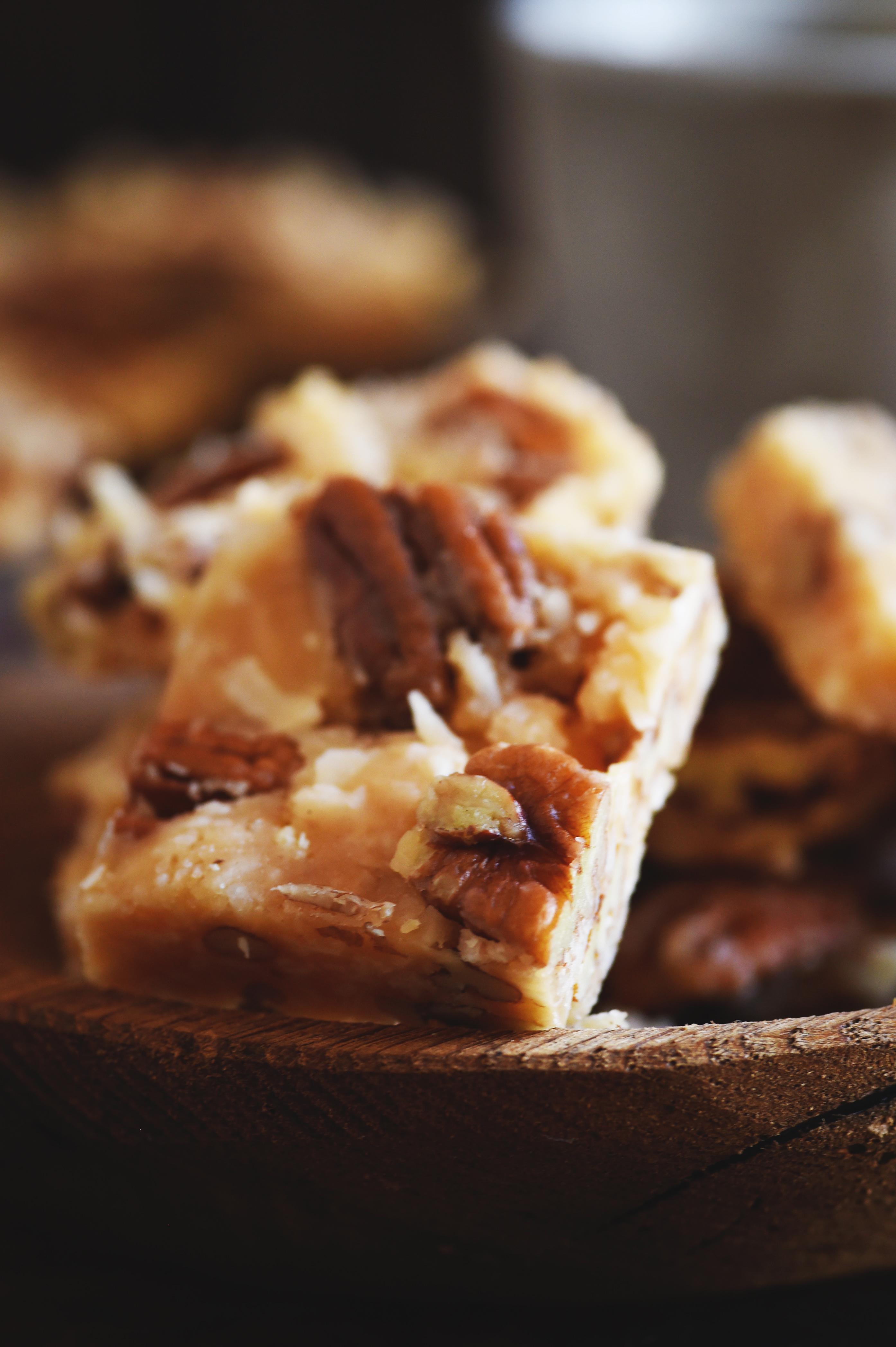 Low-Carb Coconut Pecan Snack Bar Recipe close-up