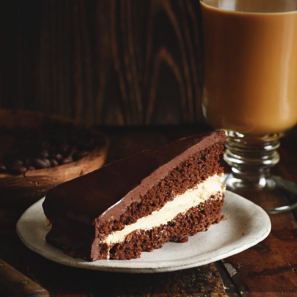 Low-Carb Chocolate Latte Dream Cake served on a plate.