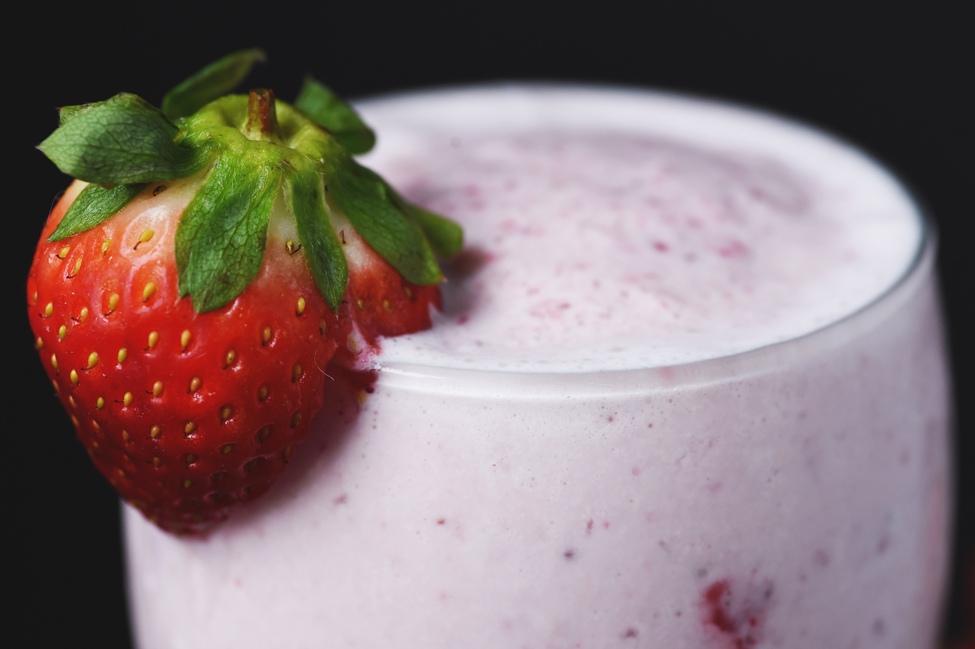 Low-Carb Strawberry Smoothie --close-up shot.