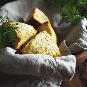 Low-Carb Onion Dill Savory Scones wrapped in a napkin.