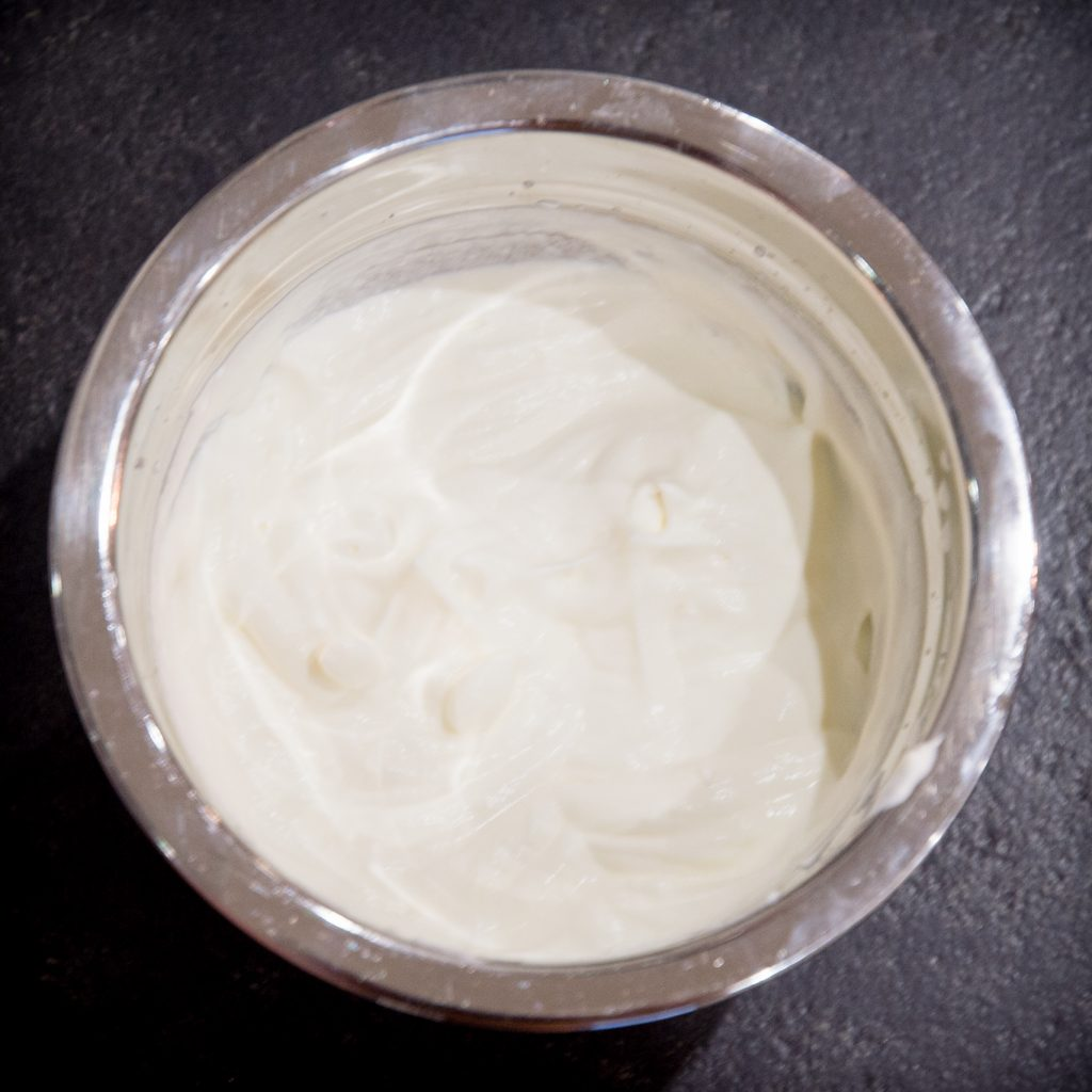 Process photo of whipped heavy cream.