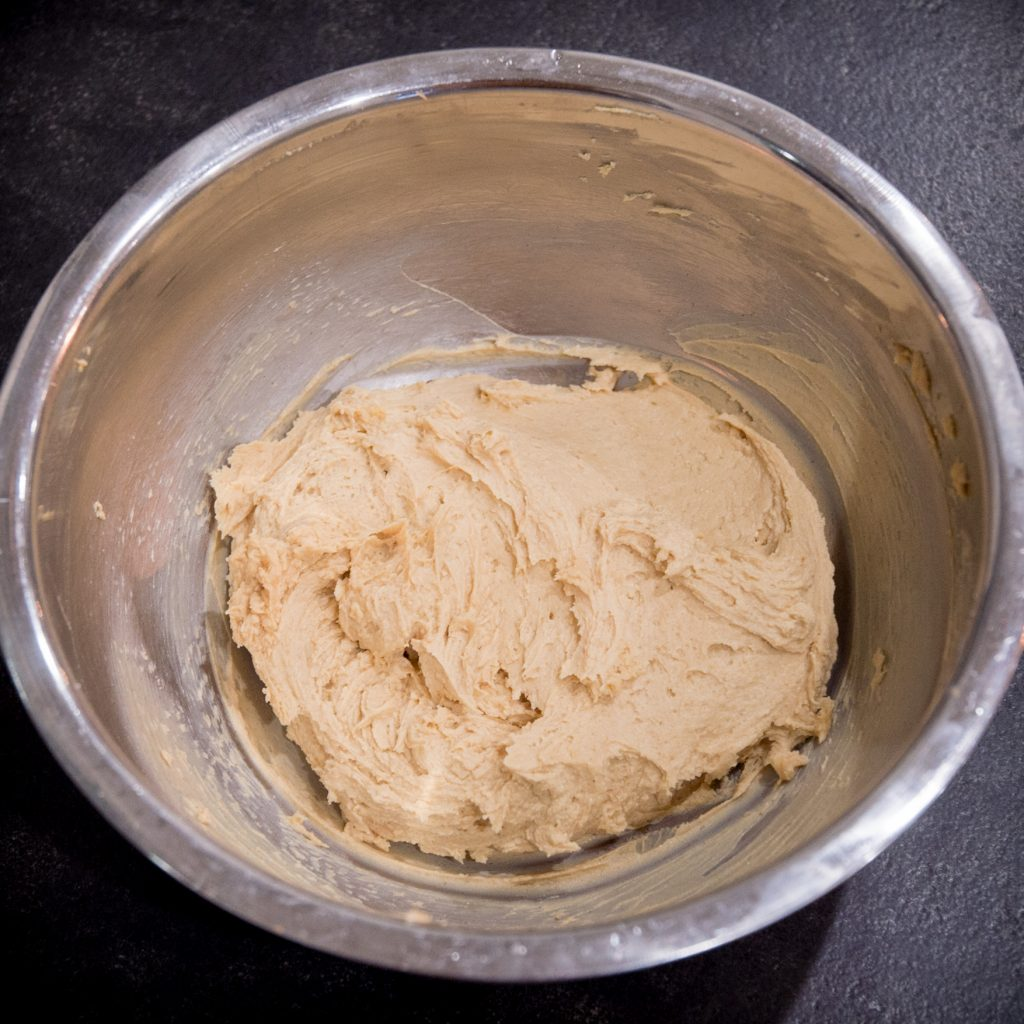 Process photo of peanut butter filling.
