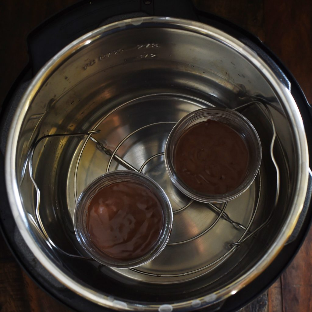 Chocolate Lava Cake Recipe-Baking cups on the steamer rack