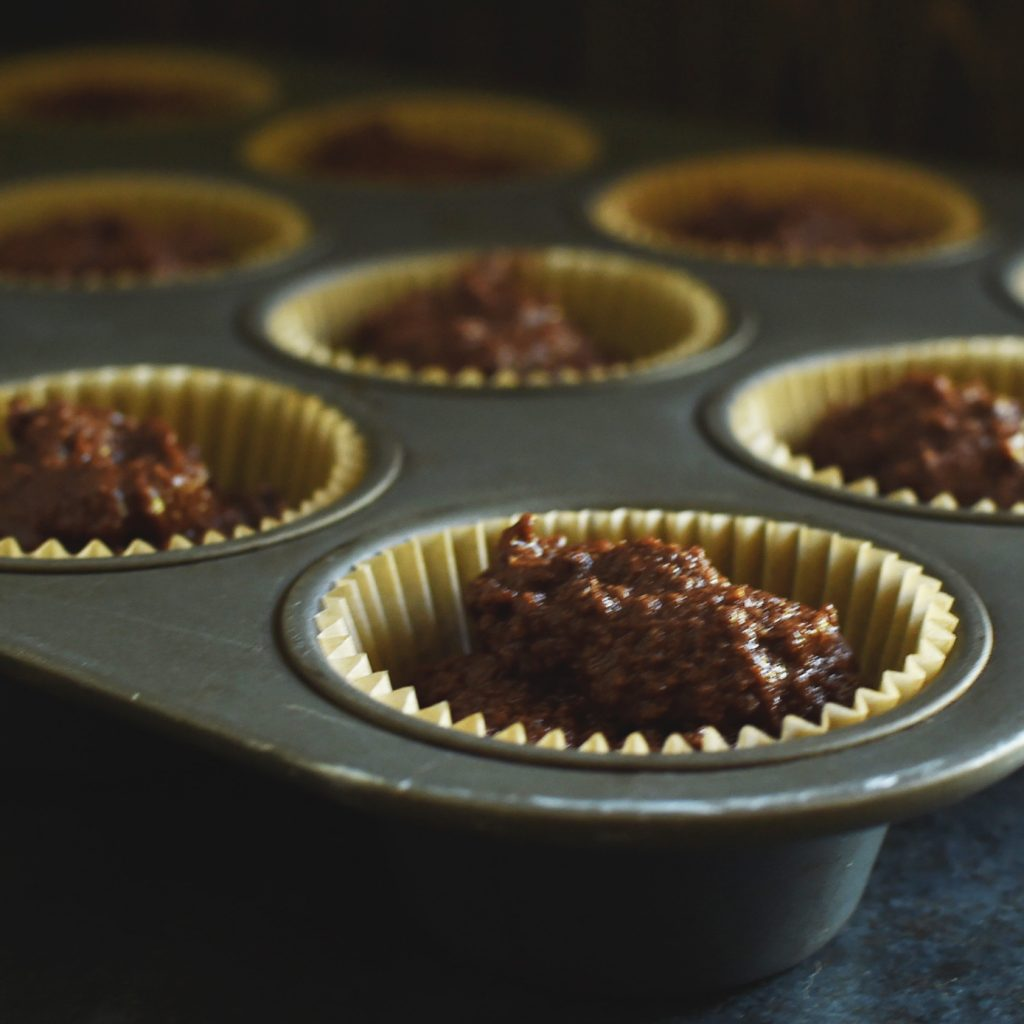 Low-Carb Double Chocolate Muffins Recipe-Ready for the oven.