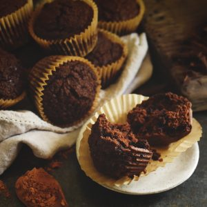 Low-Carb Double Chocolate Muffins Recipe-Completed Muffins.