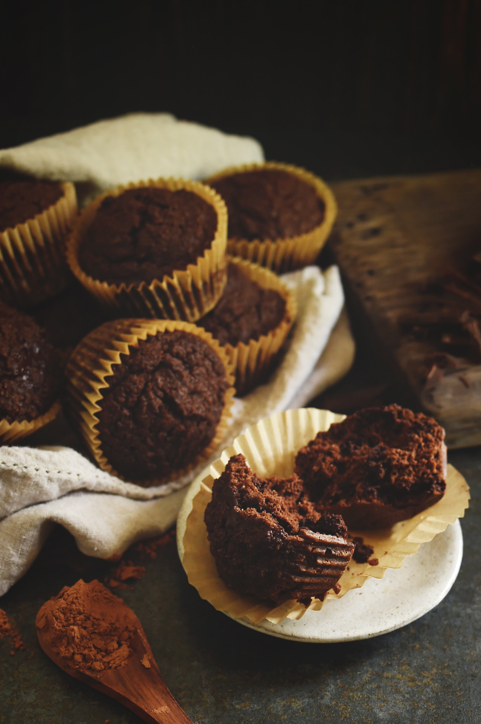Low-Carb Double Chocolate Muffins Recipe-Muffin broken open to show the inside.