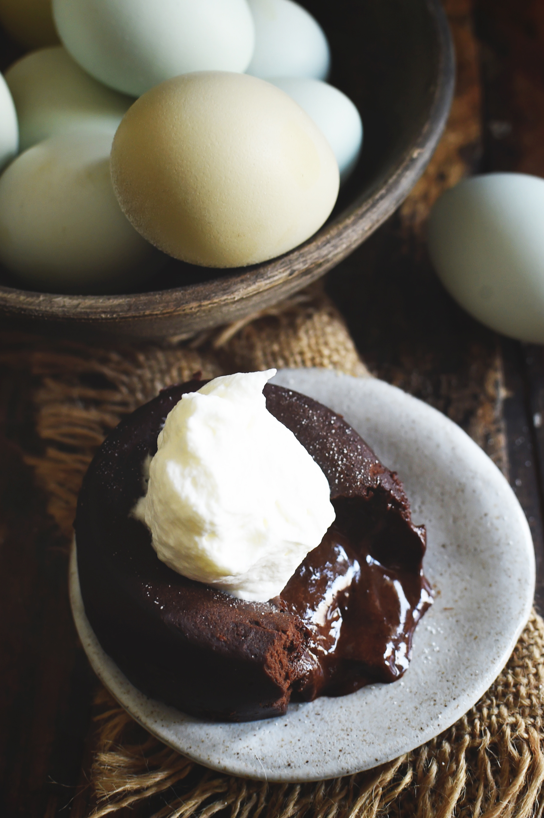 Low-Carb Chocolate Lava Cake served with whipped cream on the top.