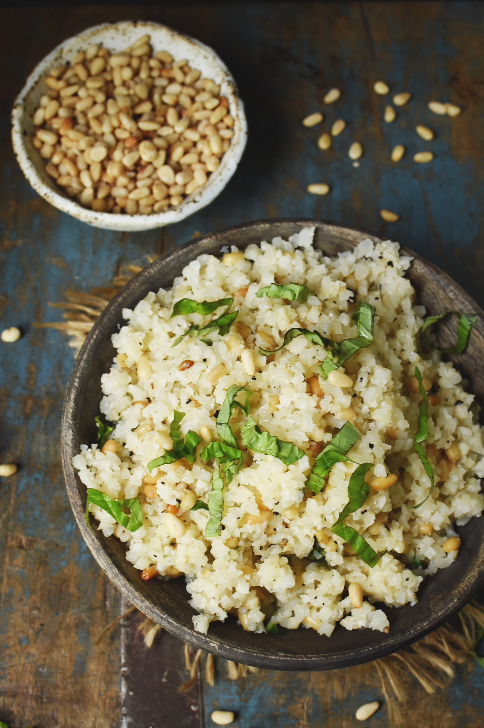 Cauliflower Rice Pilaf Recipe-In a serving bowl