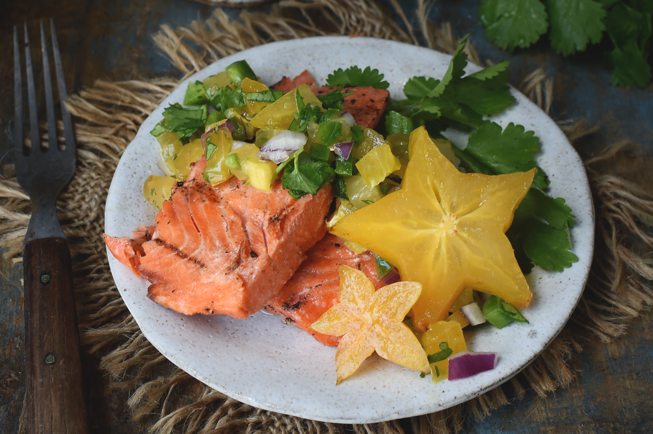 Low Carb Grilled Salmon With Starfruit Salsa Recipe